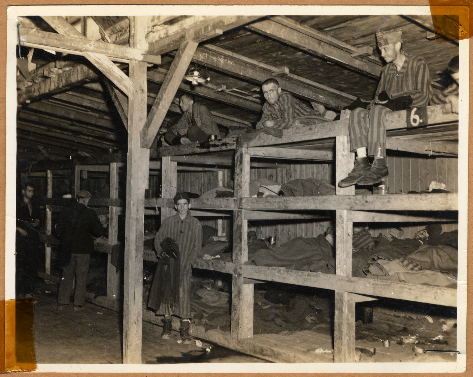 """Survivors sit in multi-tiered bunks in a barracks in the newly liberated Buchenwald concentration camp.  The lender's handwritten caption reads, """"1,500 persons slept in this building.  5 or 6 persons slept in each sections without cover--no heat, and on solid wood.  They left at 6 AM - to return at 7 PM.  At least 50 died every night.  There were special barracks for Jews and those too weak to work they were sent there to die."""""""