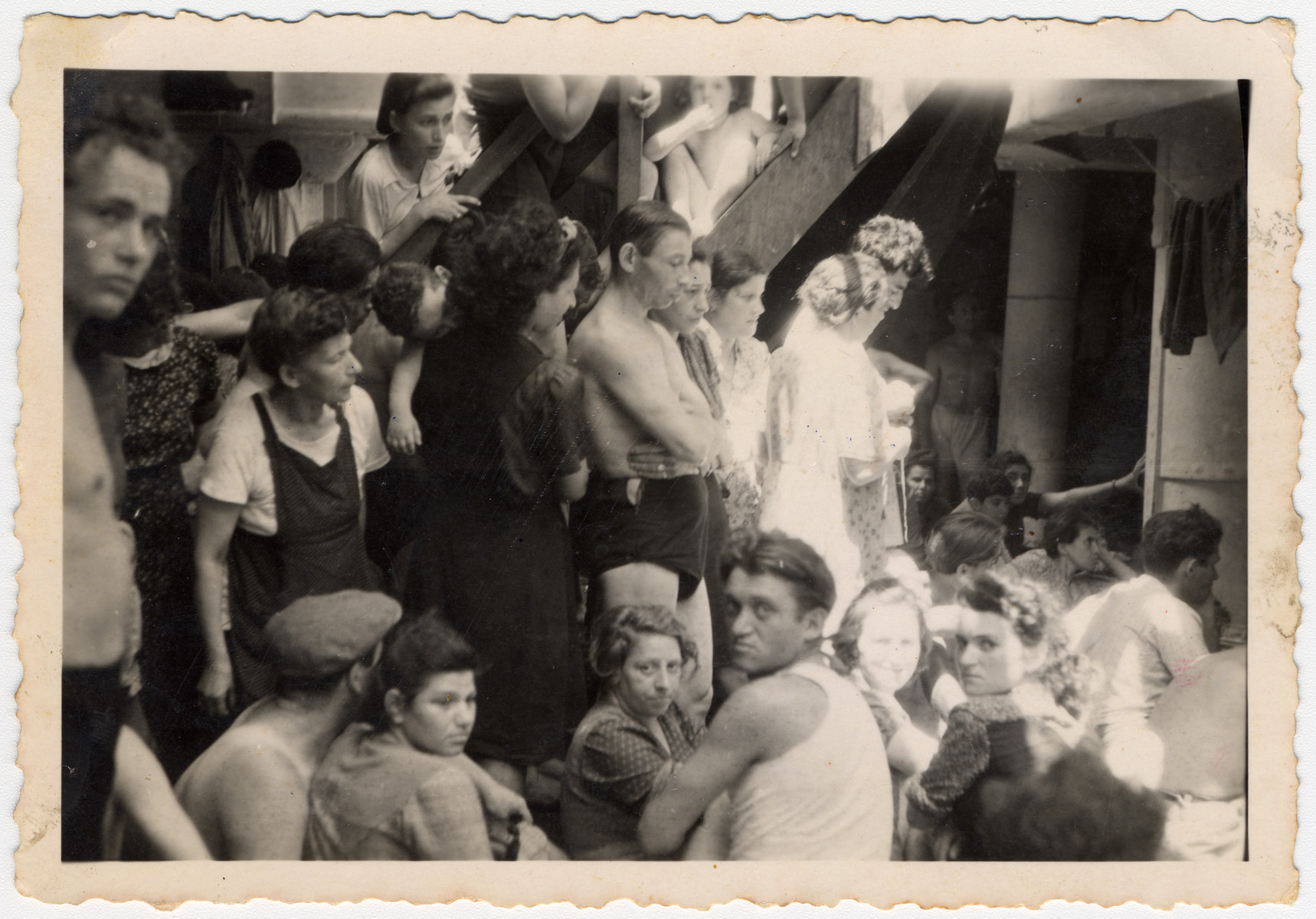Jewish refugees crowd together aboard the Exodus 1947.