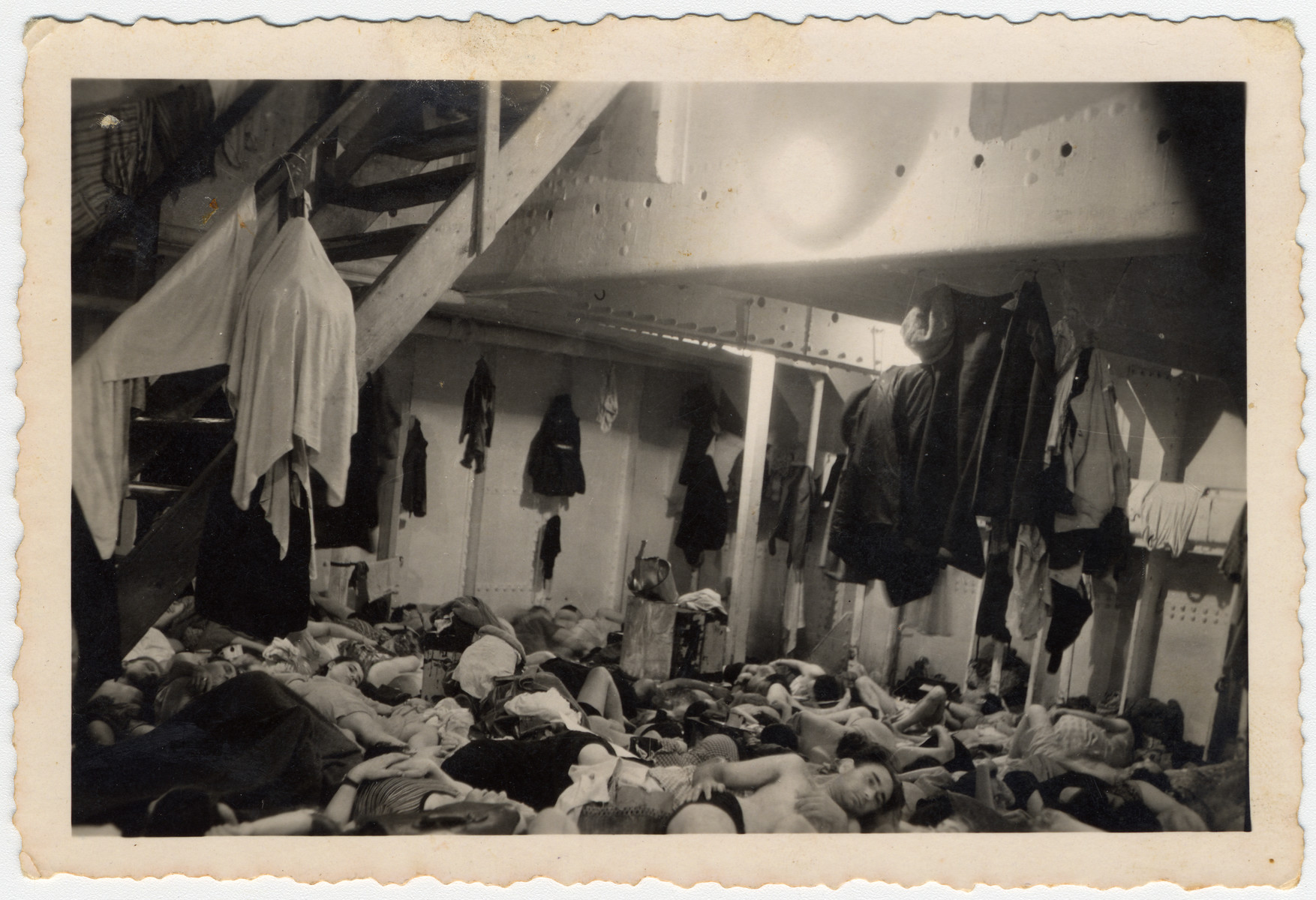 Jewish refugees crowd together in the sleeping quarters aboard the Exodus 1947.