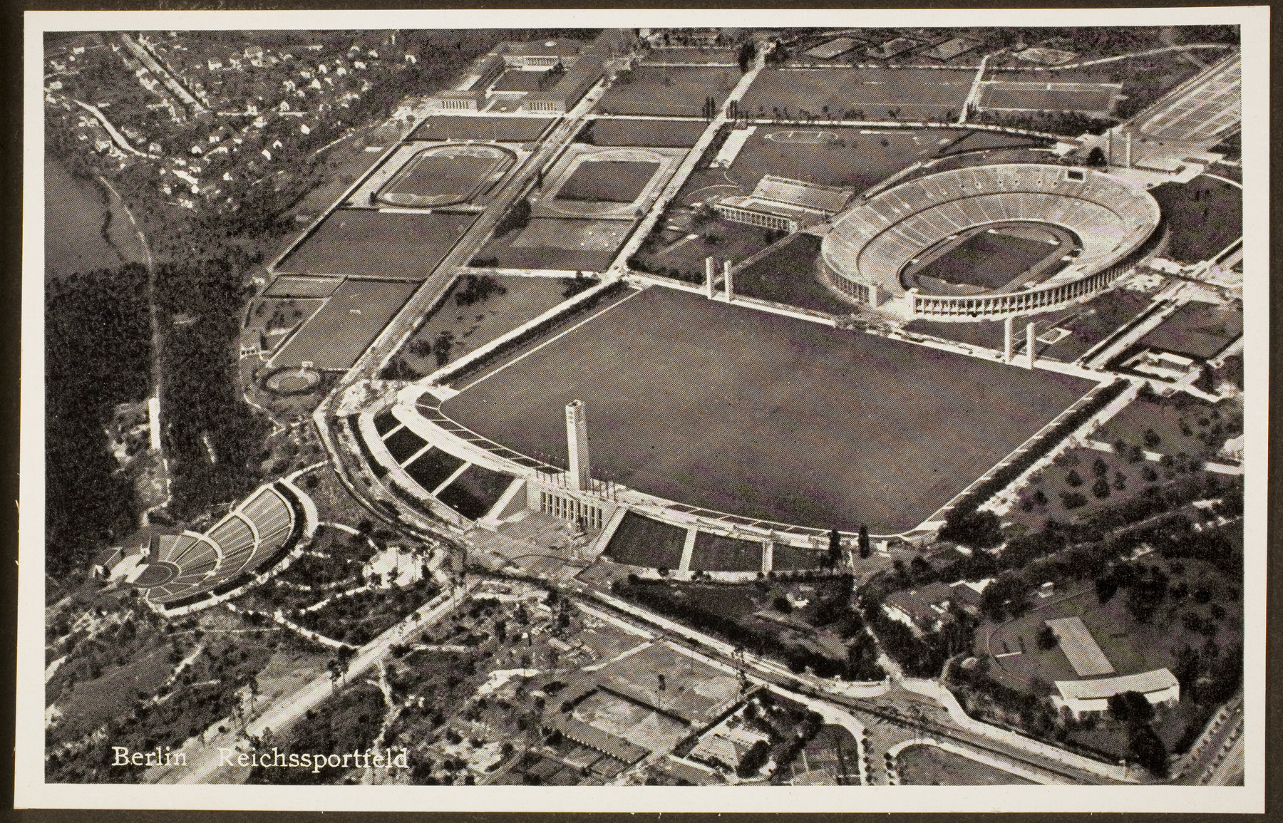 Aerial photograph of the Olympic grounds of the Berlin Olympics in 1936, including the Olympic Stadium and the Berlin Reichsportfield.
