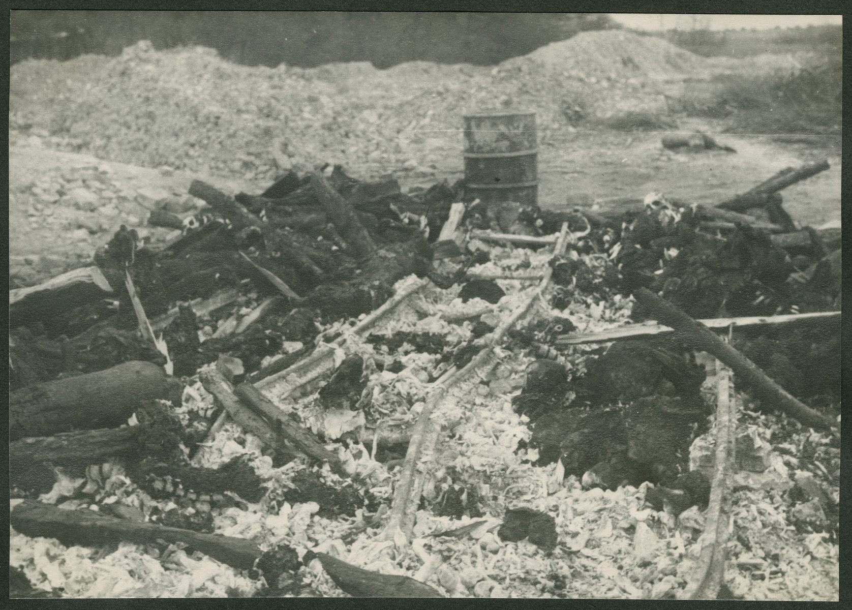 View of the remains of charred bones and wood in the Ohrdruf concentration camp.