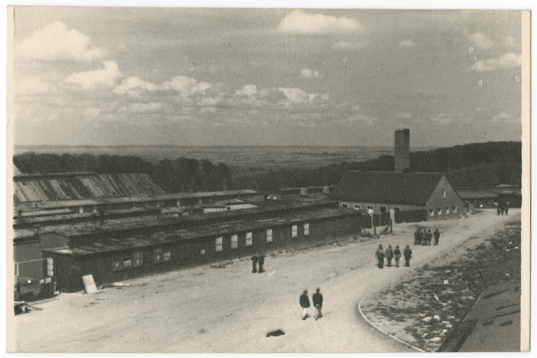 View of the Buchenwald concentration camp following liberation.