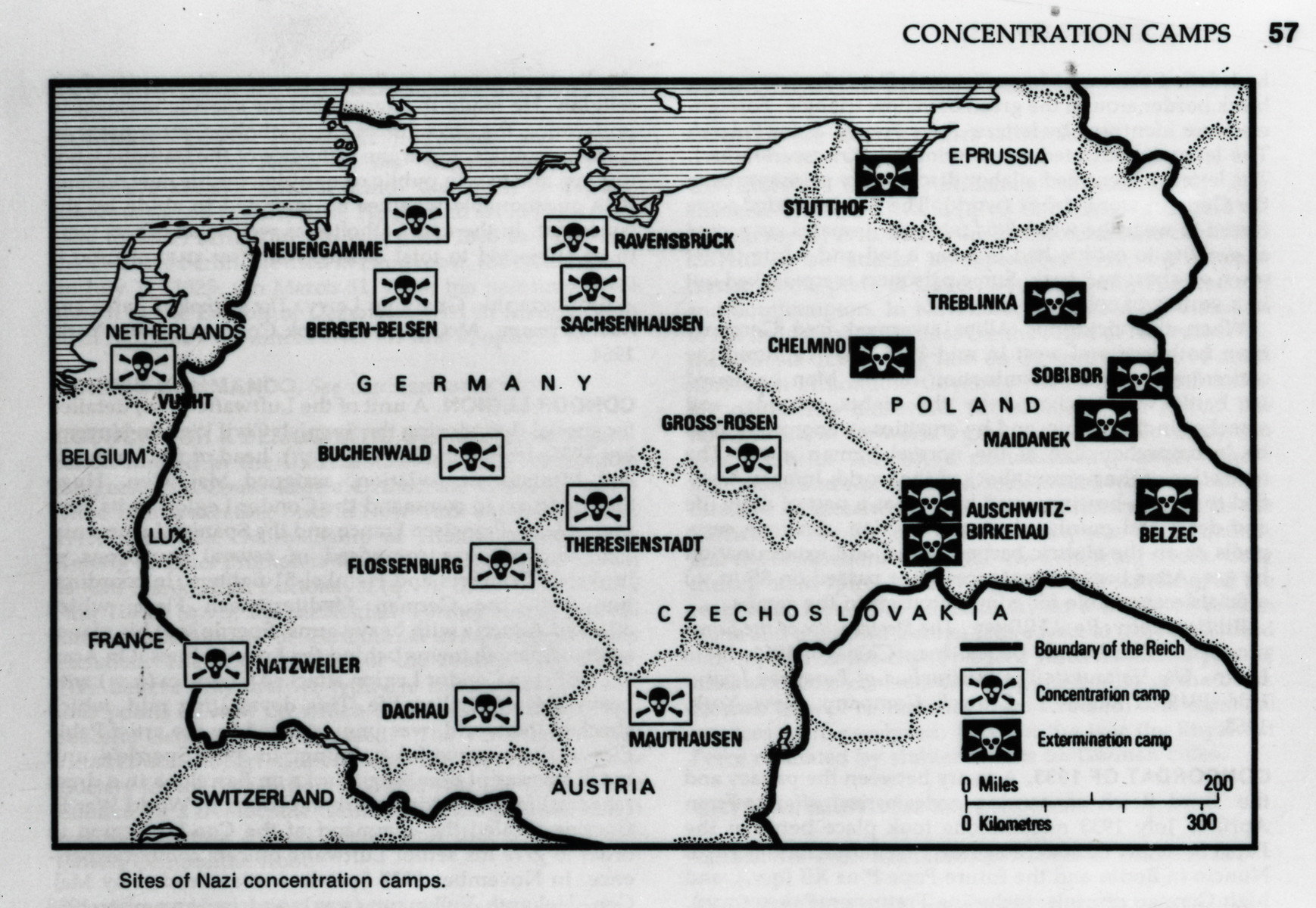 Map of the major Nazi concentration and extermination camps.