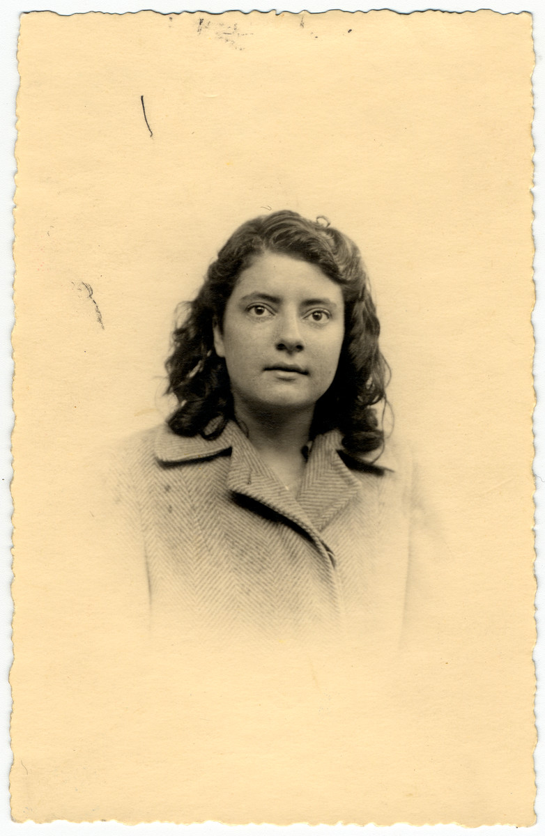 Studio portrait of Colette Flake, a Jewish teenager who survived in hiding in France, taken shortly after the end of the war.