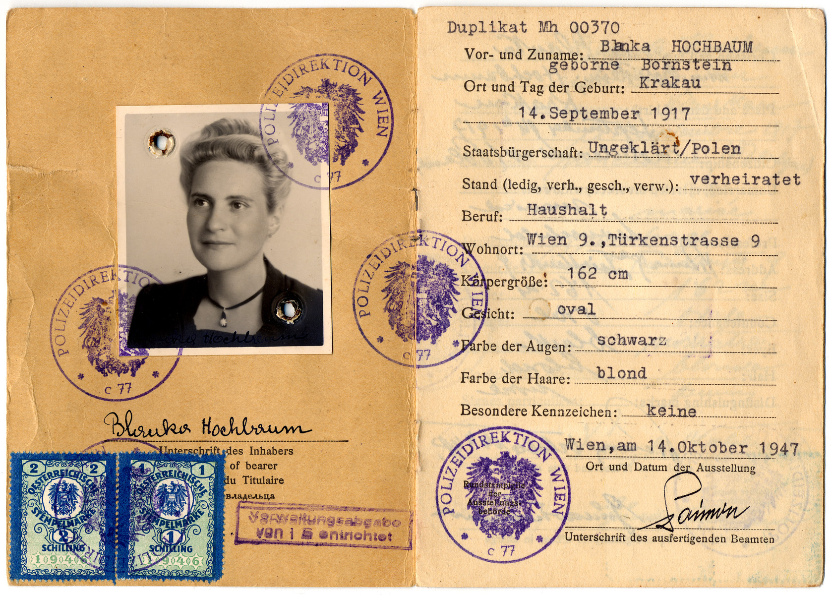 Passport issued to Blanka Hochbaum allowing her to return to Poland to search for her family.