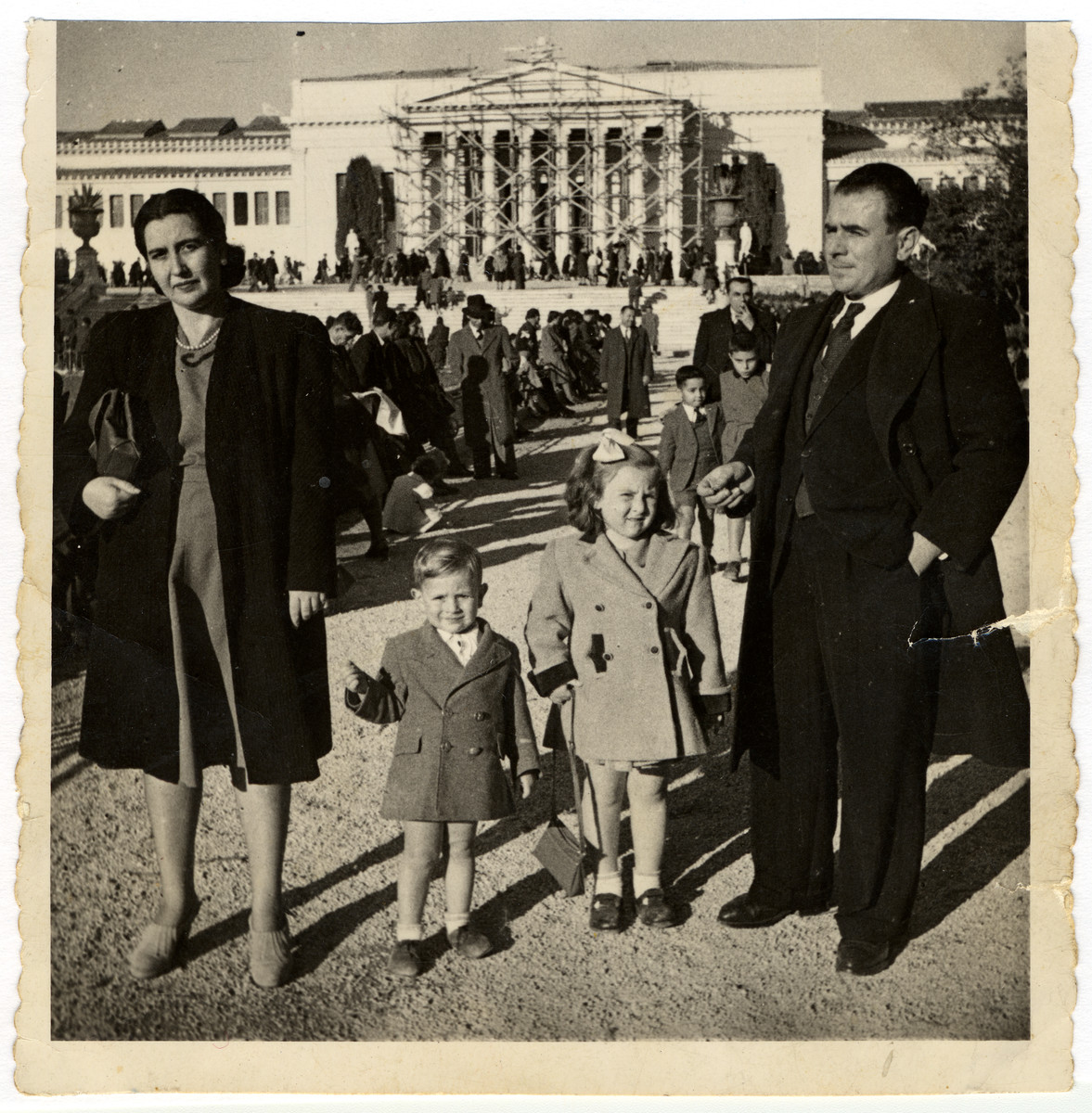 A Greek Jewish family after the war.  Pictured are Claire and Jacob Elhai, with their children Elvira and Victor.