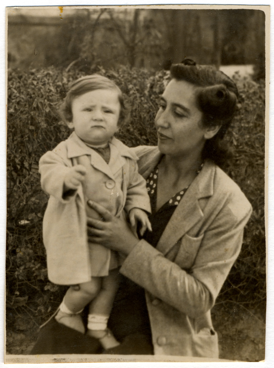 A Greek Jewish mother and child.  Pictured are Claire Elhai and her daughter, Elvira Elhai.