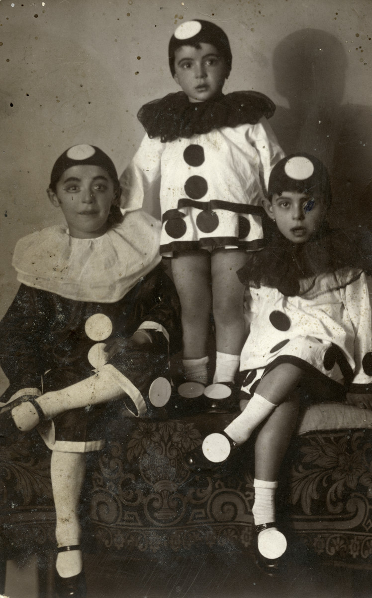 Portrait of the children of Elias  and Matilda Hajon (the donor's great  aunt and uncle) wearing their Purim costumes