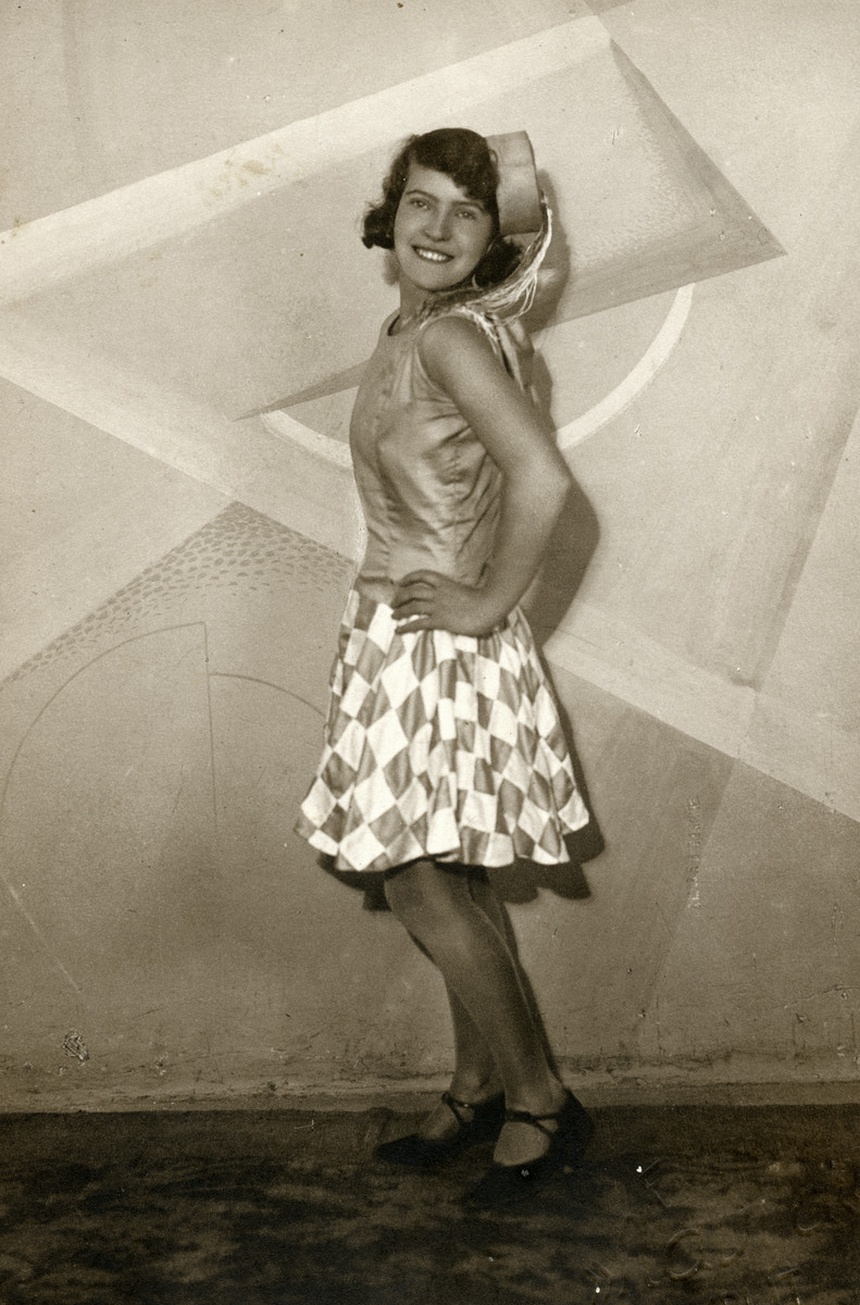 Tina Hajon (later Finci), poses in her Purim costume.