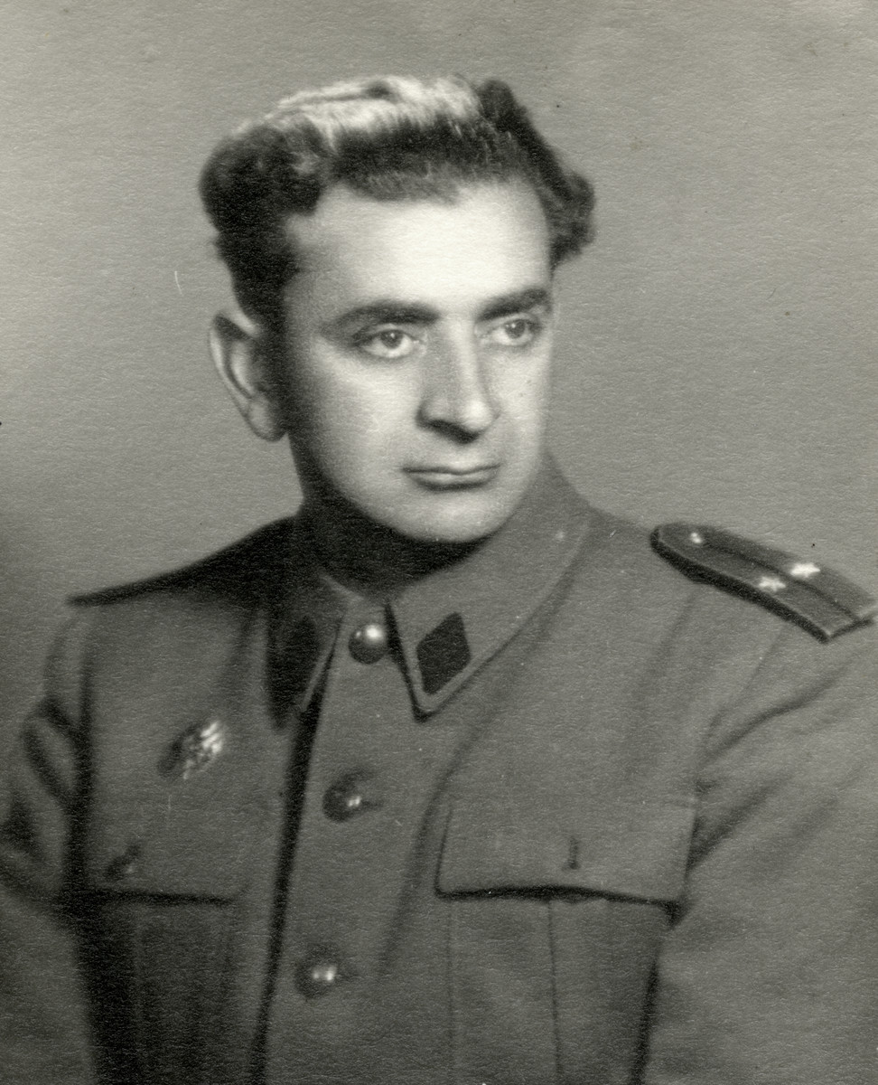 Portrait of Salomon Finci, while on army commission to recover spoils of war from Germany.