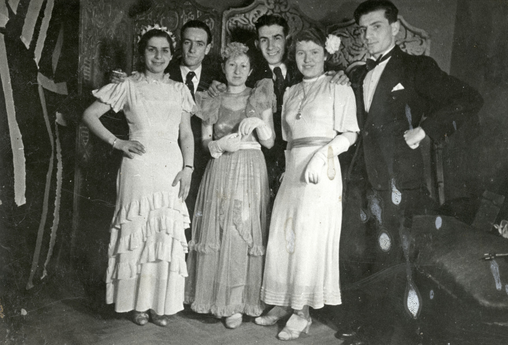 Jewish youth attend a Purim party in prewar Split.  Tina Hajon stands in the bottom row furthest to the right,