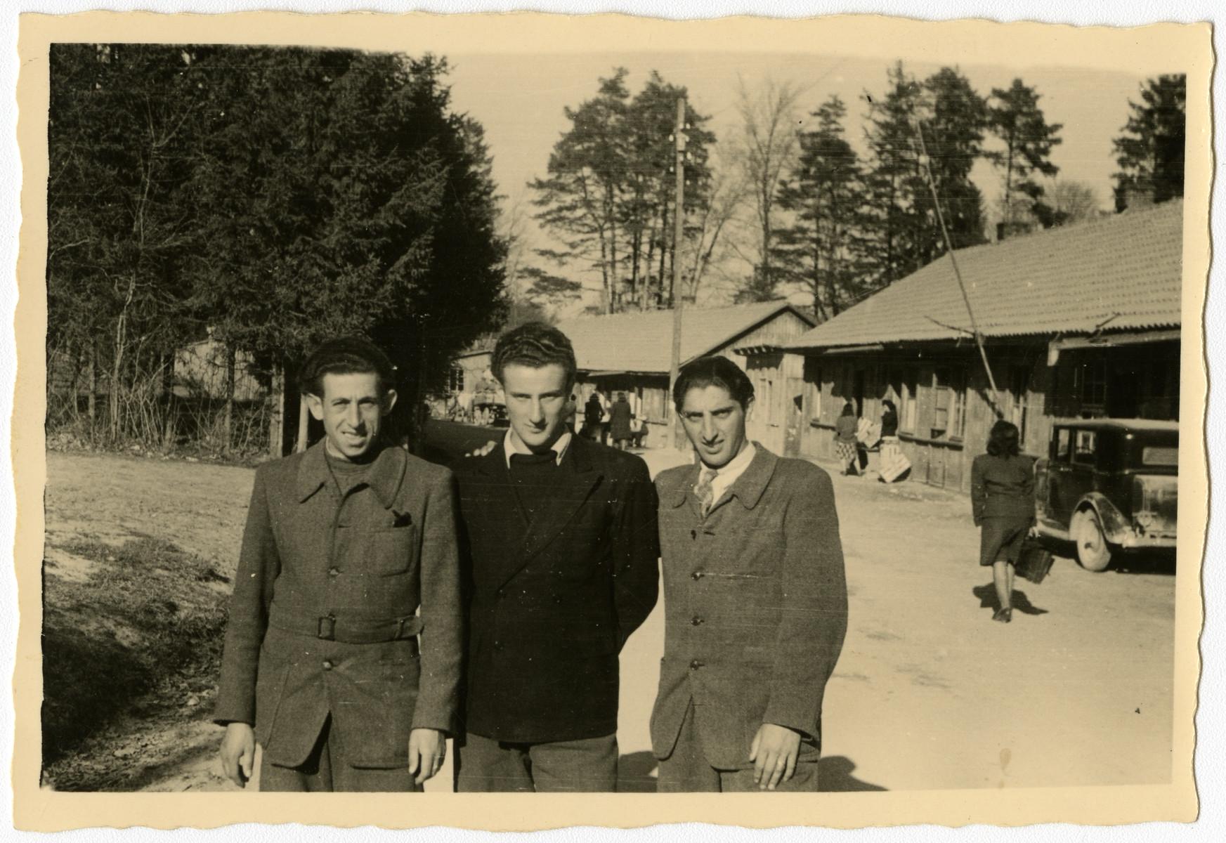 Portrait of three young men in the Feldafing displaced persons camp.  Pictured from left to right are Janek (Jack) Glucksman, Jaszke Aronowitz (Jack Arnel) and Chamek (Harry) Weinroth.