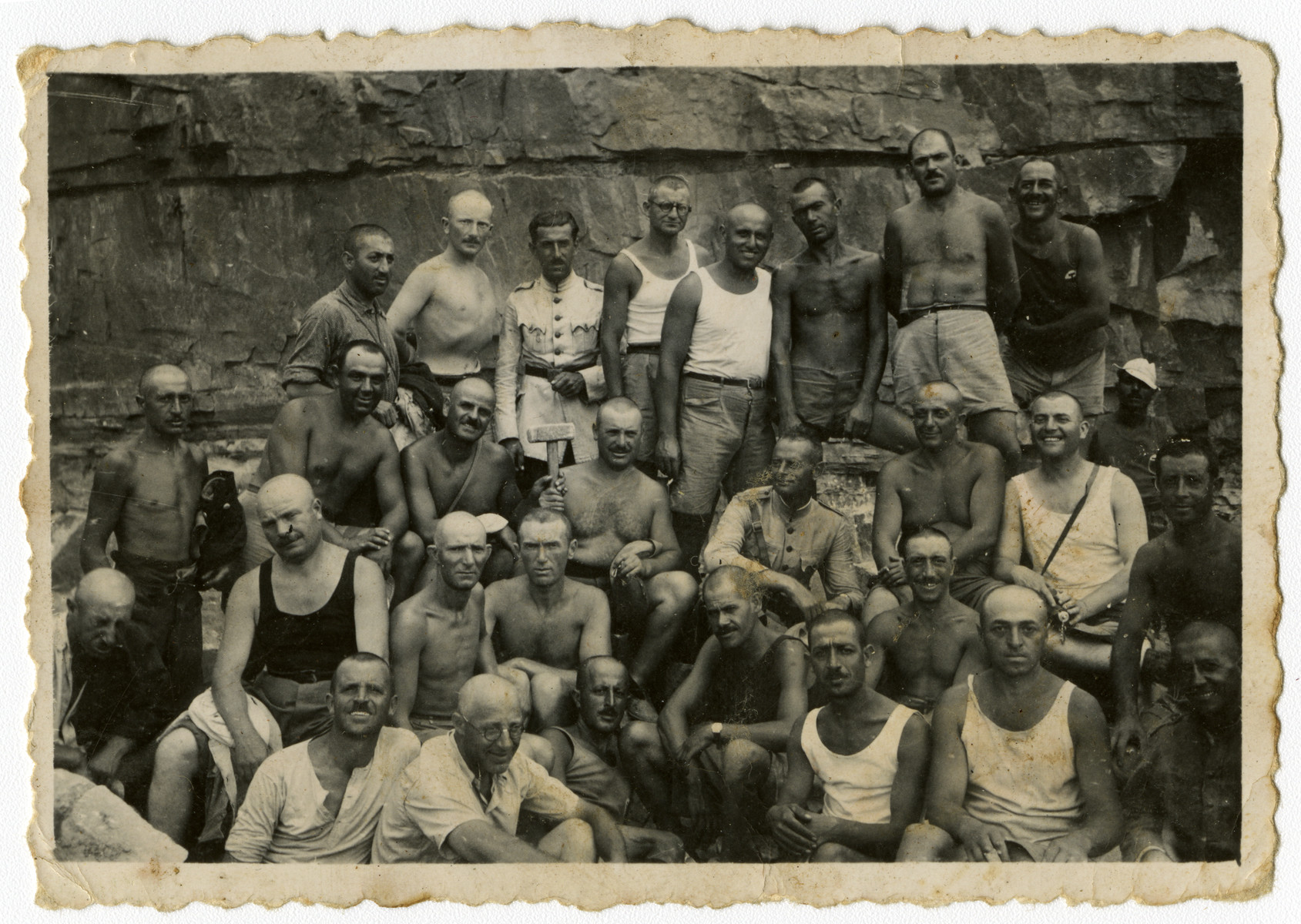 Group portrait of Bulgarian Jews in a forced labor brigade in Bov.
