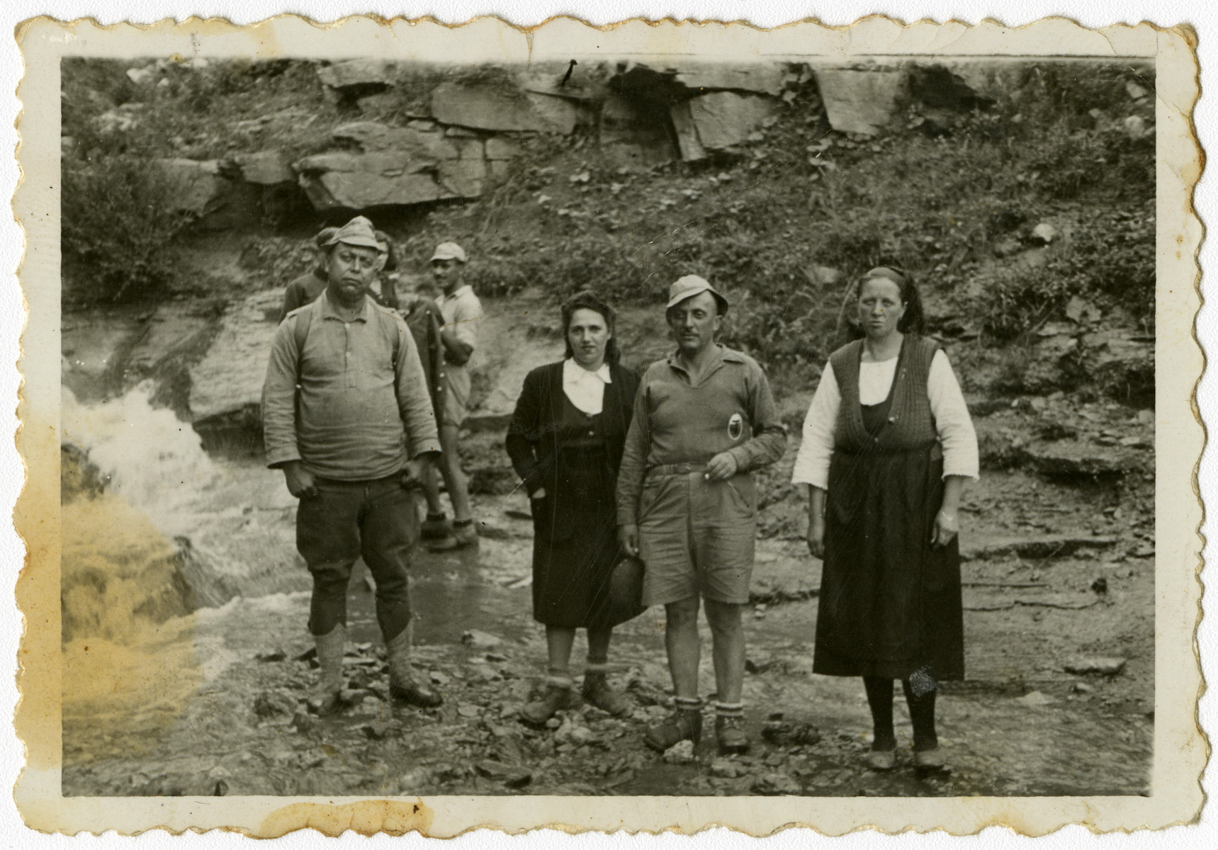 Group portrait of Bulgarian Jews in a forced labor brigade in Bov.  Isaac Varsano is standing on the left.
