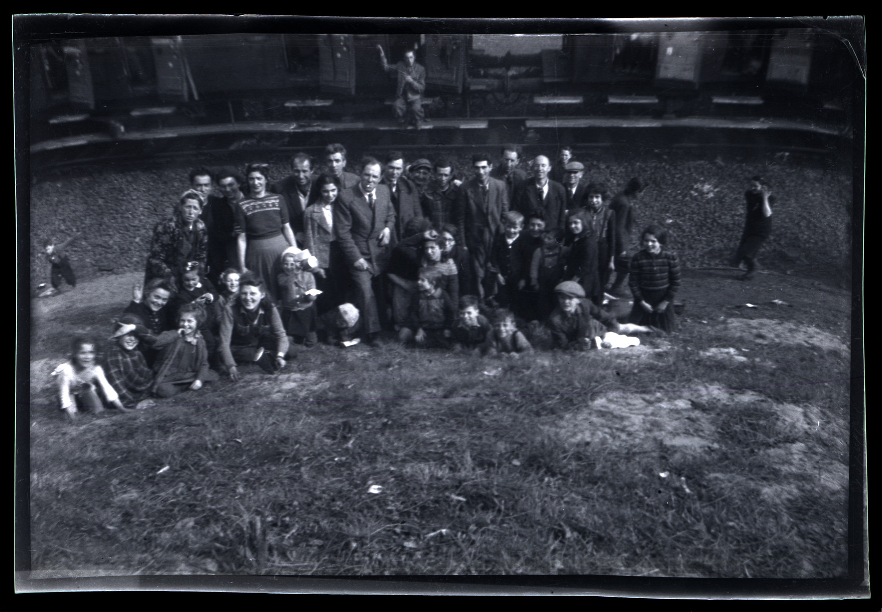 Group portrait of survivors from Bergen-Belsen liberated outside of Farsleben.