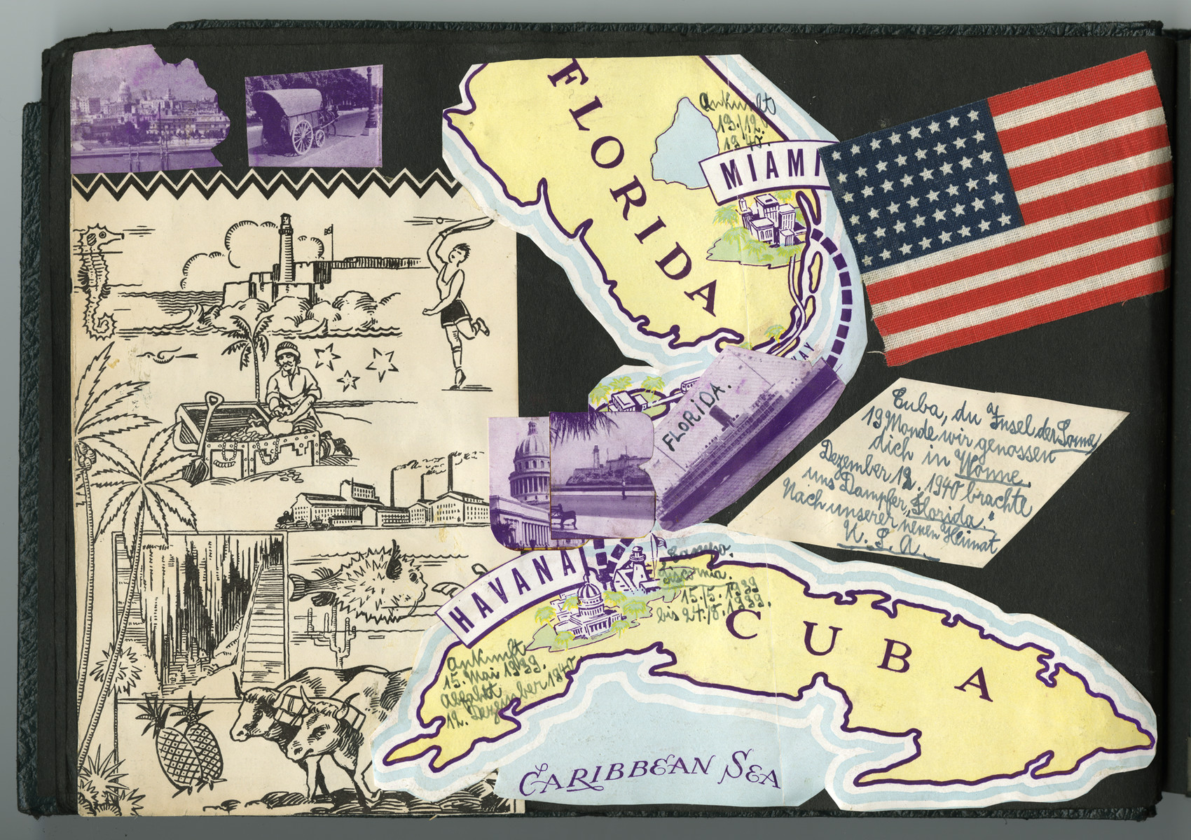 A page from a scrapbook with prictures of Cuba and Florida.