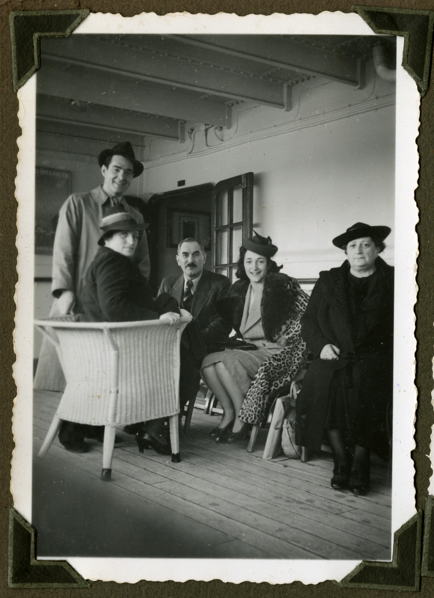 Mario and Helga Pelligrino bid farewell to Helga's mother and grandmother on board the ship that will take them to Cuba.  From left to right: Hannie, Mario, Karl, Helga, and Olga.