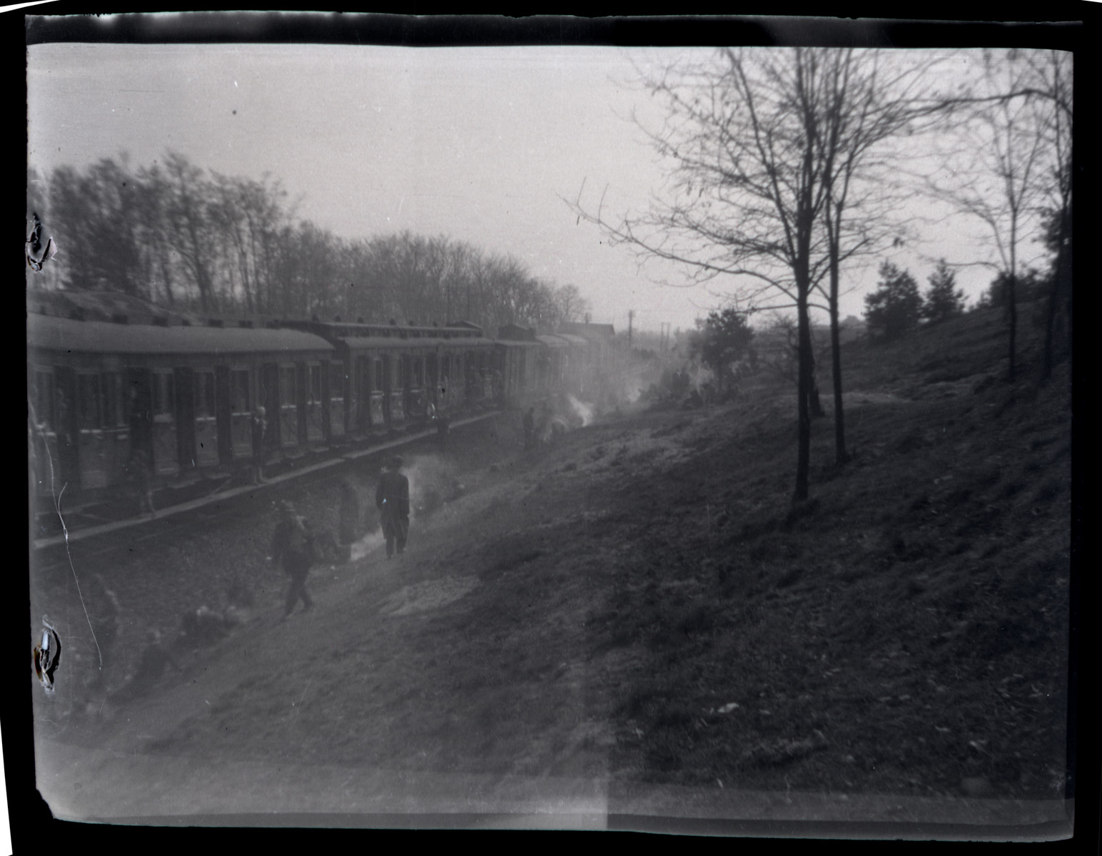 View of the evacuation train headed from Bergen-Belsen to Theresienstadt and liberated by the Americans near Farsleben.