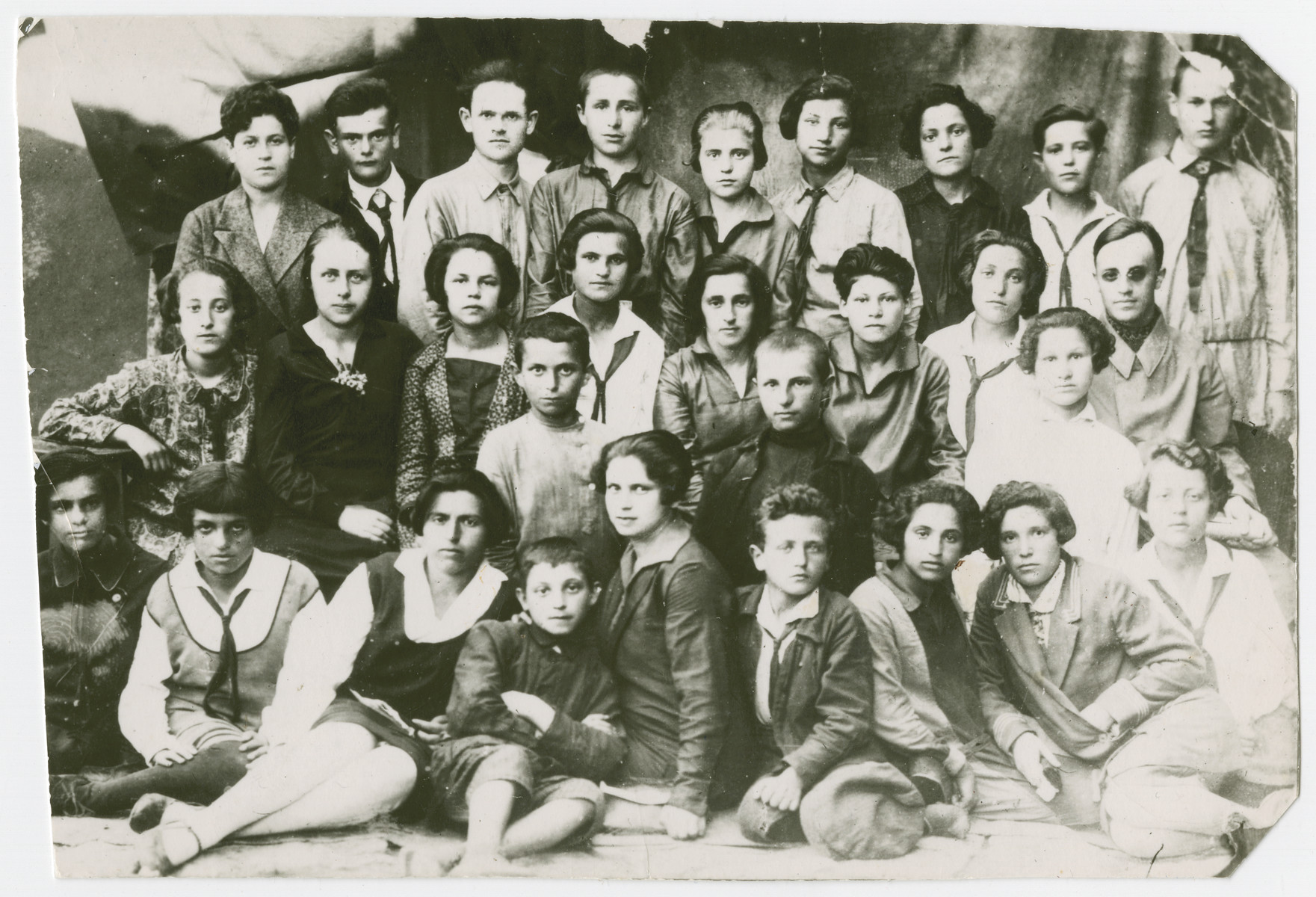 Group portrait of Jewish youth from Orinin, USSR.   Among the few of those pictured to survive the Holocaust were Perl Miller (3rd from right) and Leo Bernsteyn (4th from left).
