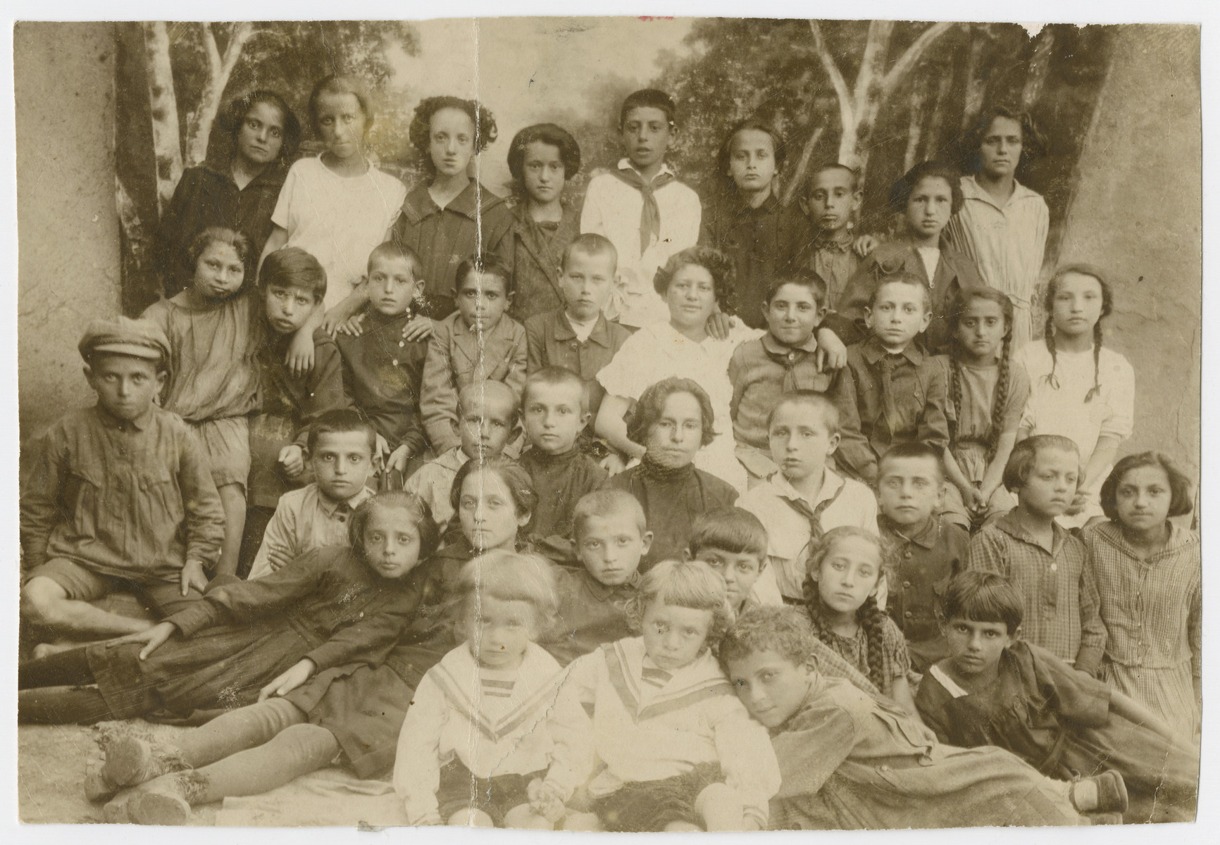 Group portrait of Jewish youth from Orinin, USSR.  The original caption reads: No survivors.