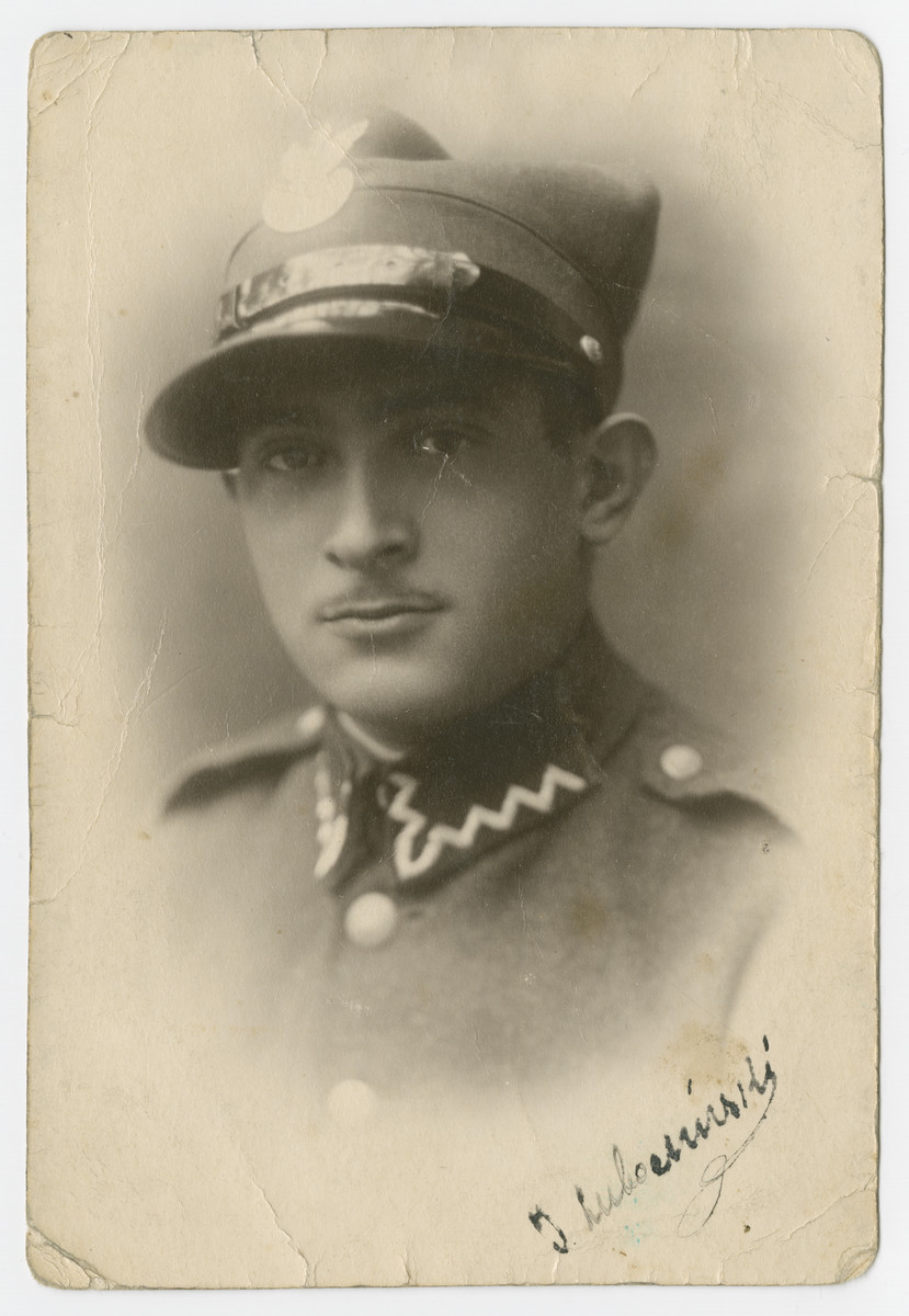 Studio portrait of Isaak Lubochinski, the brother of Malka Lubochinski and the son of Israel and Chuma, wearing his Polish military uniform.    He survived the war though his wife and two children perished.  He later moved to Belgium after the war.