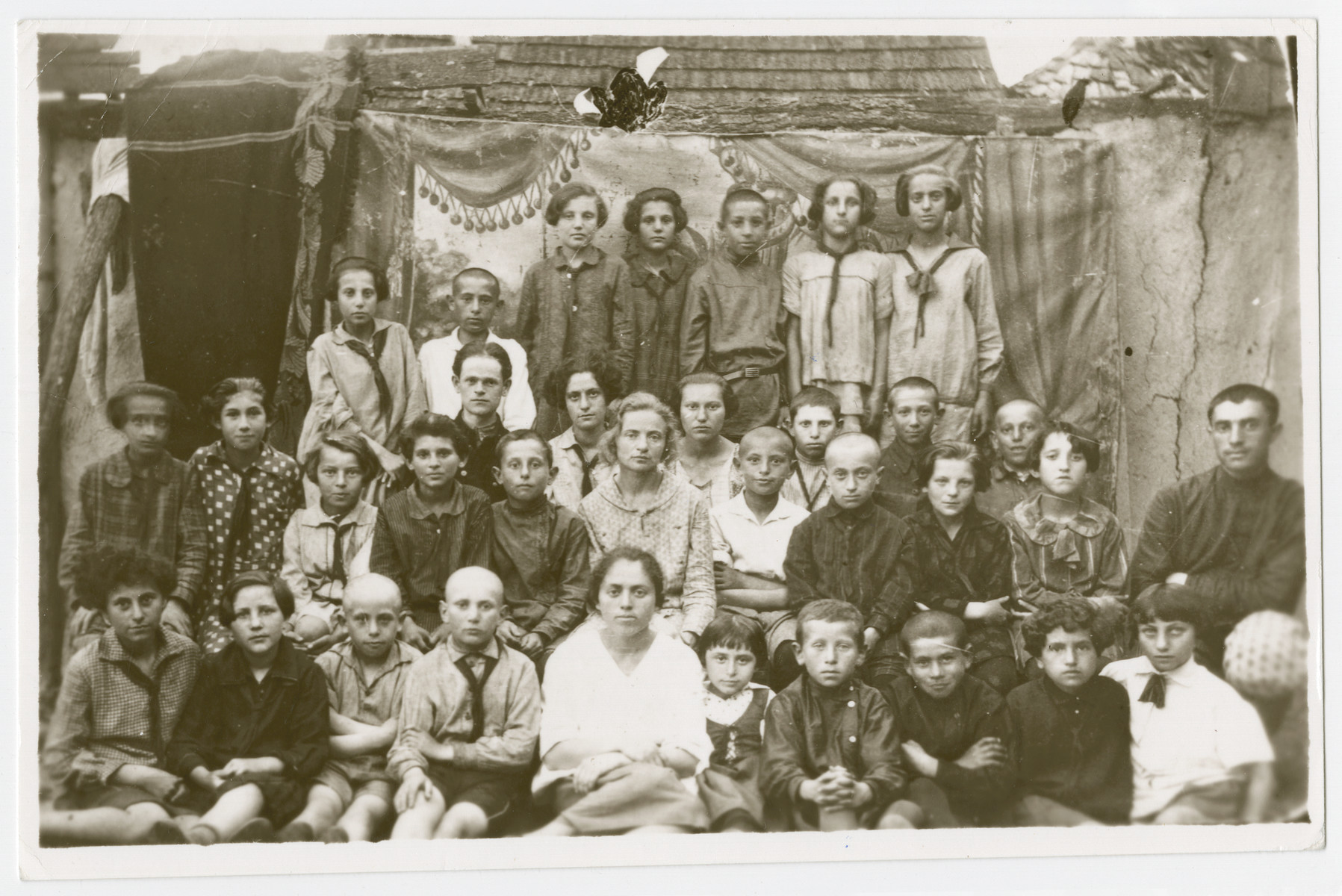 Group portrait of Jewish youth from Orinin, USSR.