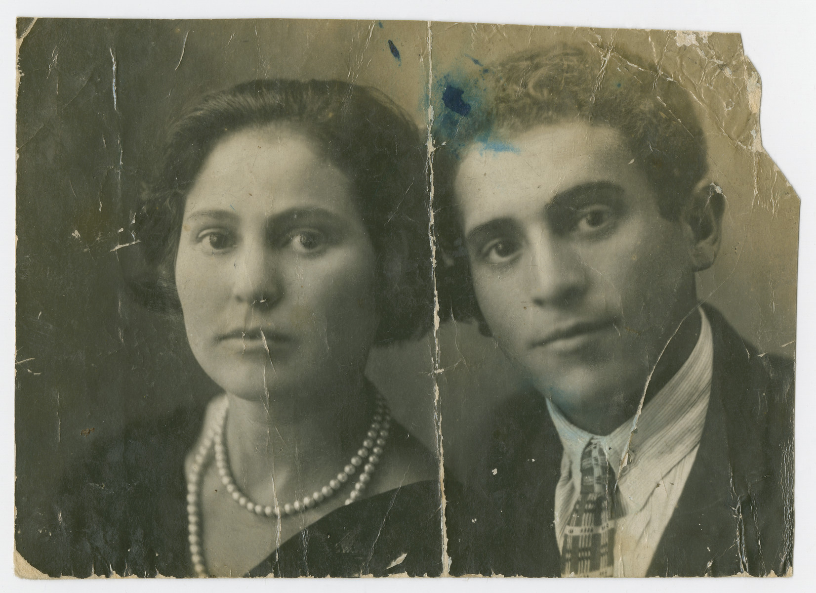 Studio portrait of Sosi Fuler (nee Pasternak) and her brother Feivish Pasternak.   Sosi was killed after the German occupation of Orinin, while Feivish survived the Holocaust.