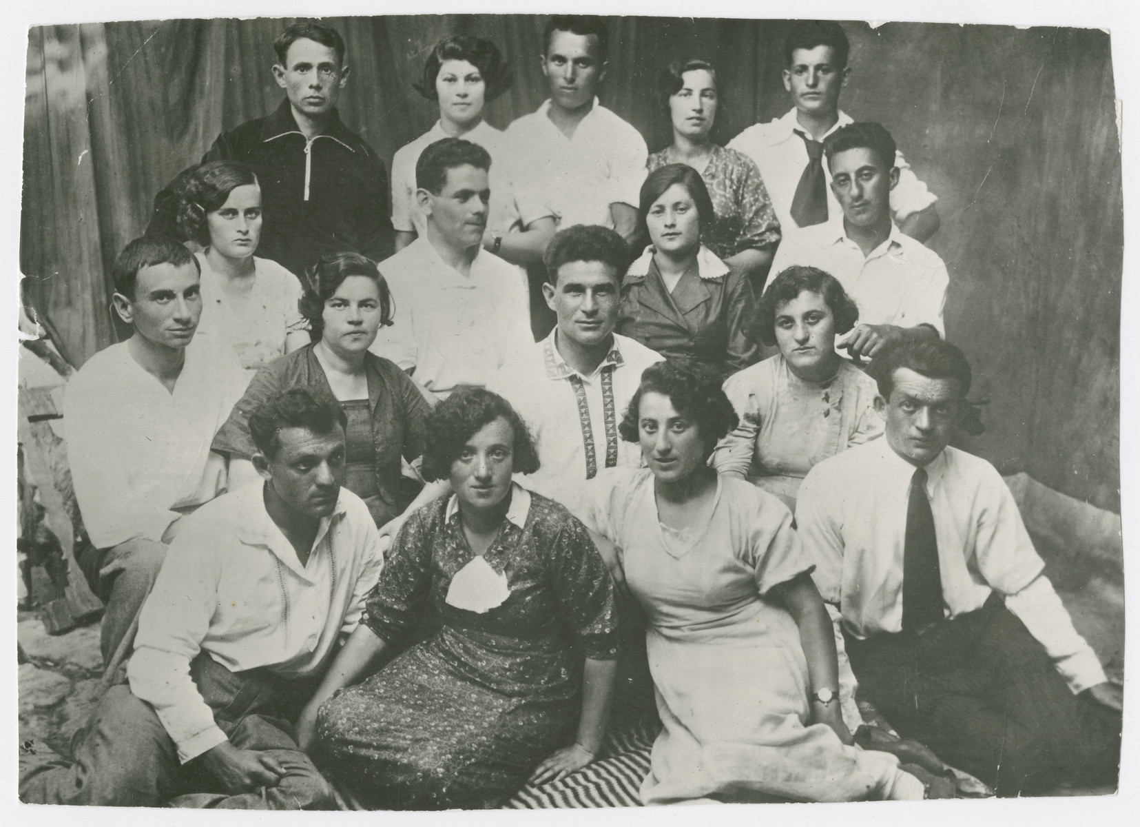 Group portrait of Jewish youth in Orinin, Ukraine.    Among those pictured is Leo Berenstein, who survived the war.