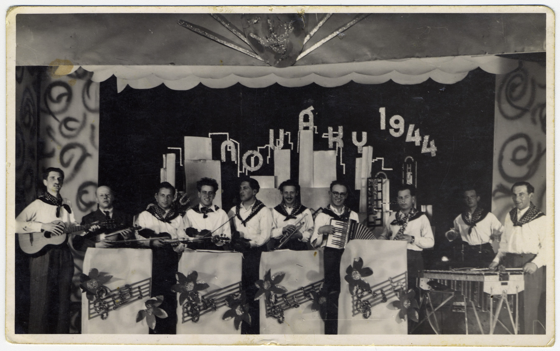 Musicians perform on the stage of the Novaky labor camp.