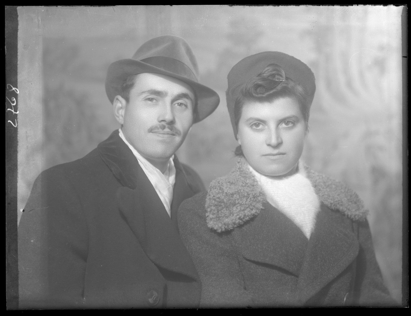 Studio portrait of Mihaly Friedman and his wife.