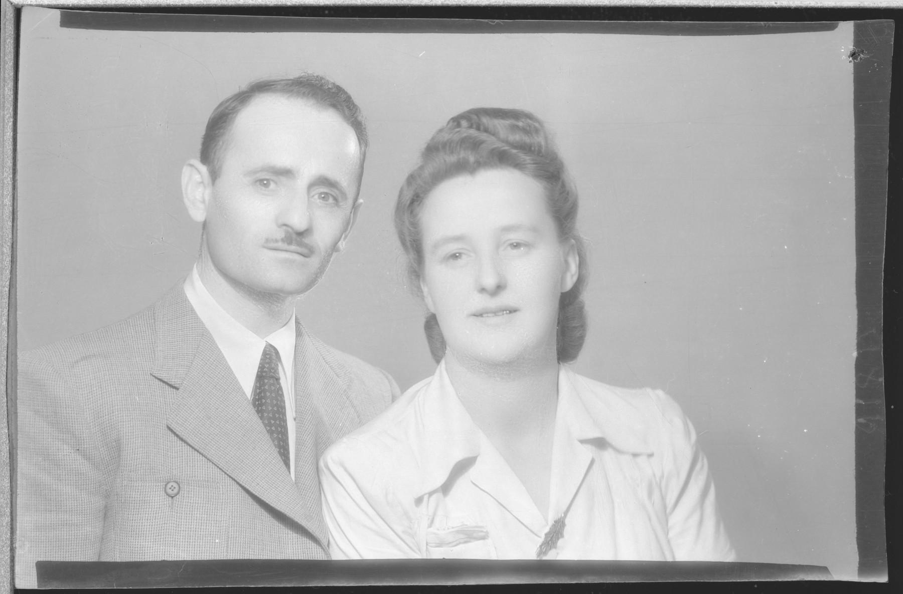 Studio portrait of Ibraham Herman and his wife.