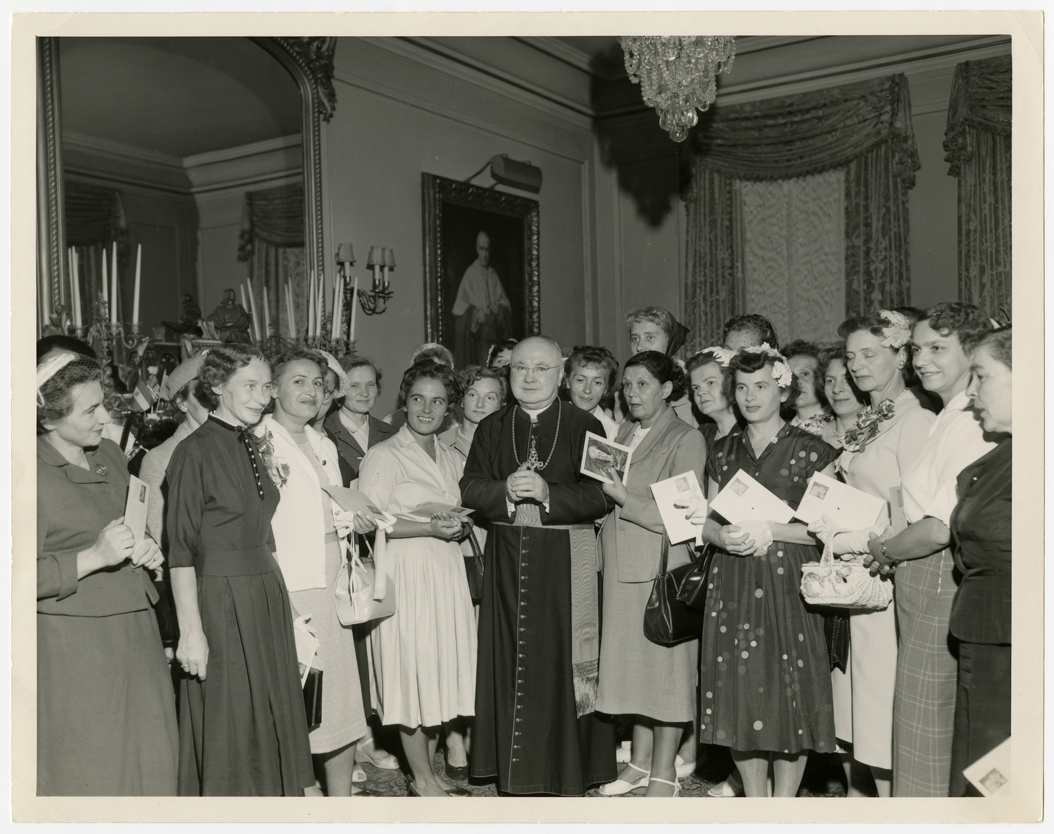 Cardinal Spellman grants a private audience to a delegation of Polish women, all of whom were the victims of medical experimentation while imprisoned in the Ravensbrueck concentration camp.