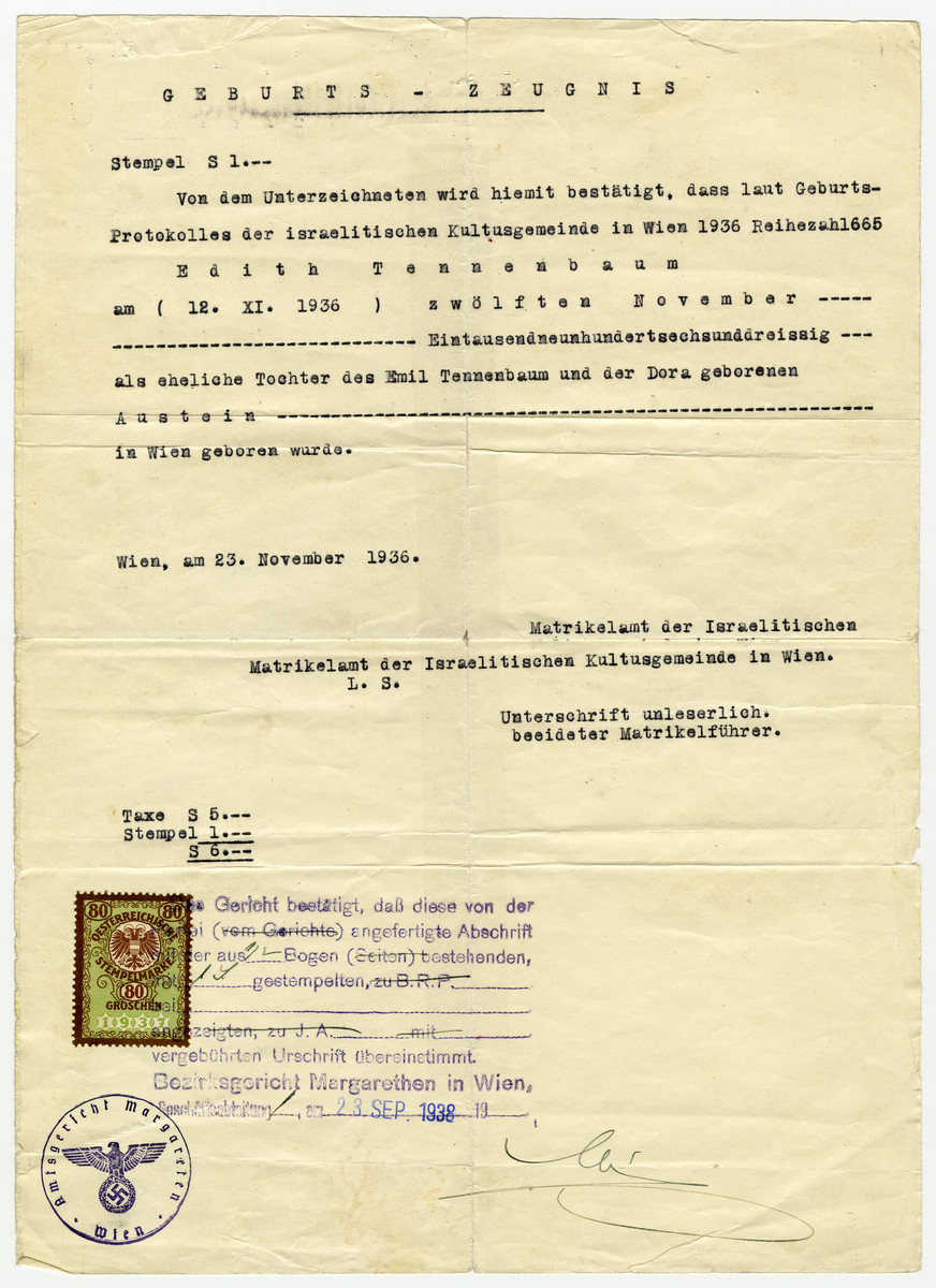 Birth certificate issued to Edith Tennenbaum in 1936 and restamped with a Nazi seal two years later in September 1938.