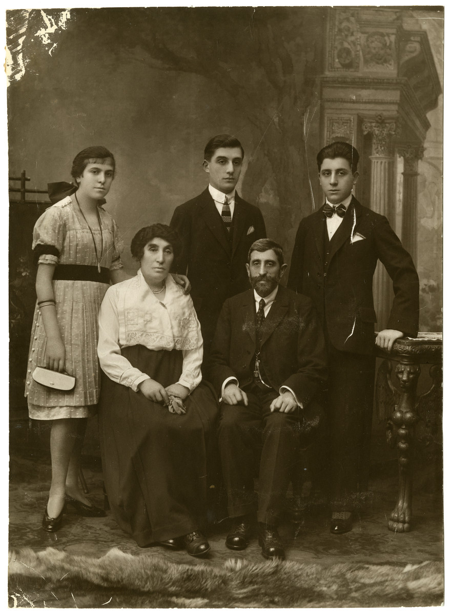 Studio portrait of the Tennenbaum family in prewar Vienna.  Seated are Malka and Leib Tennenbaum.  Behind them are their children, Minna, Emil and Mark.
