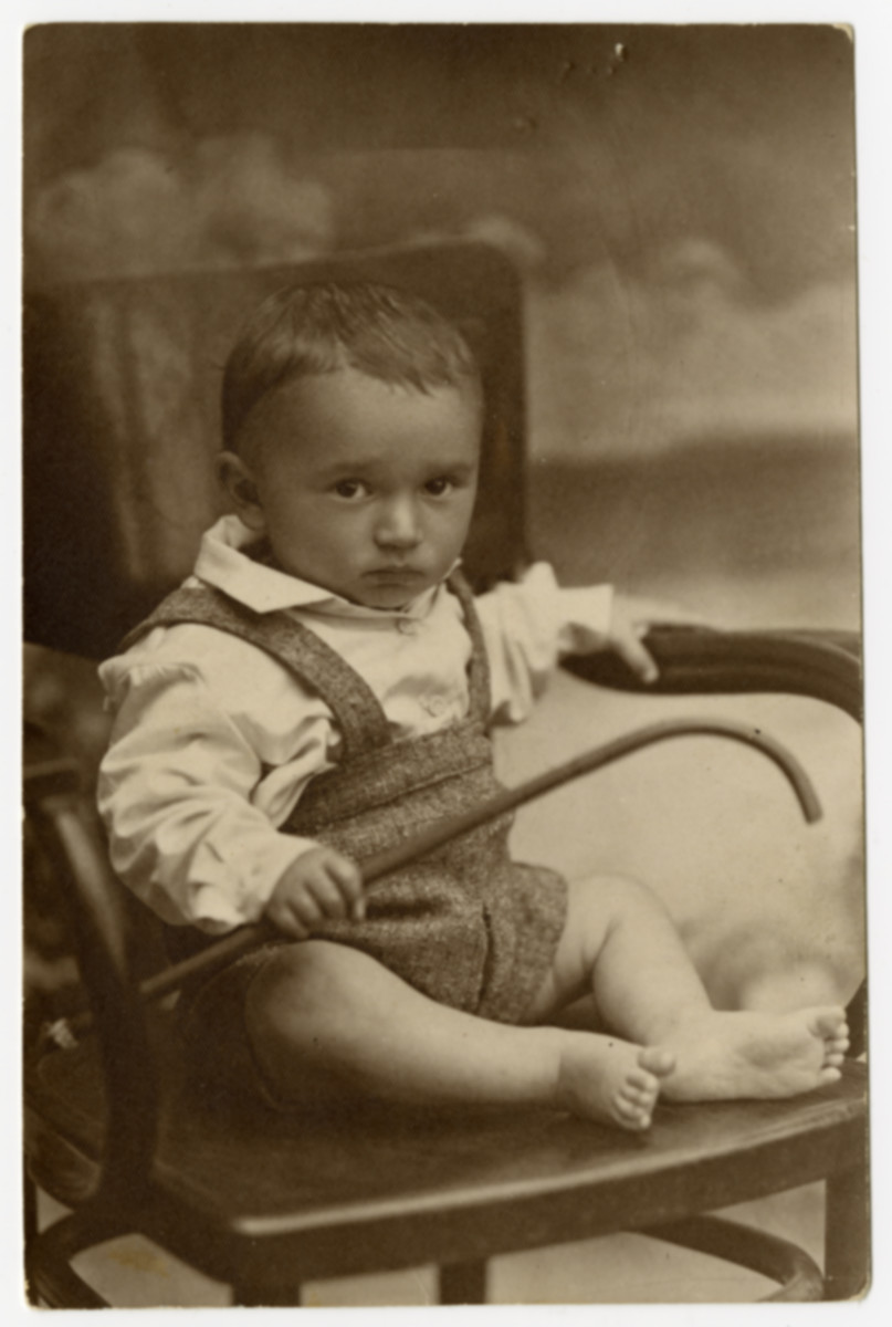 A portrait of a young boy (son of Basia and member of the Levine family) who later perished in the Holocaust.