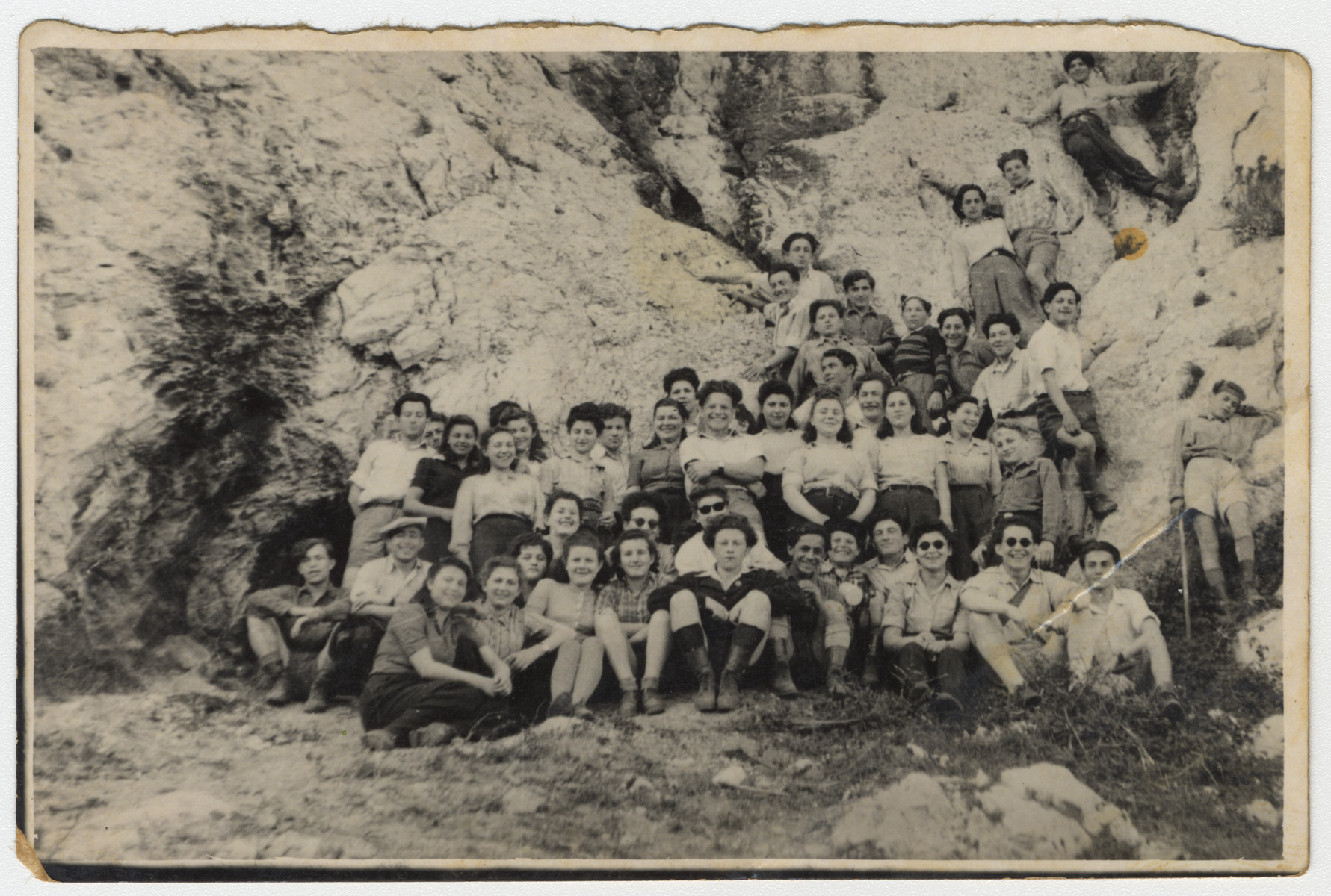 Jewish youth who had been passengers on the Exodus and reinterned in Germany go for an excursion in the hills outside Marseilles prior to their legal departure for Palestine.