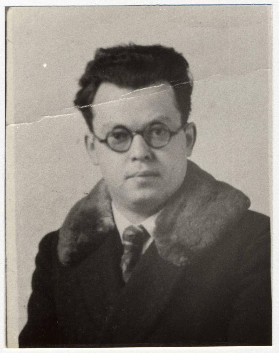Close-up portrait of German-Jewish composer, Edwin Geist.