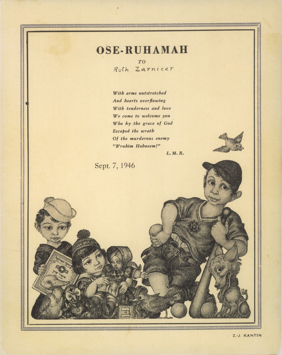 Pamphlet illustrated by Arthur Szyk welcoming the members of a Jewish children's transport who sailed to the United States on the SS Athos II in 1946.  The children had been cared for in OSE homes in France prior to their arrival in the U.S.  This copy of the pamphlet has the donor's name, Ruth Zarnicer, penciled in below the title.