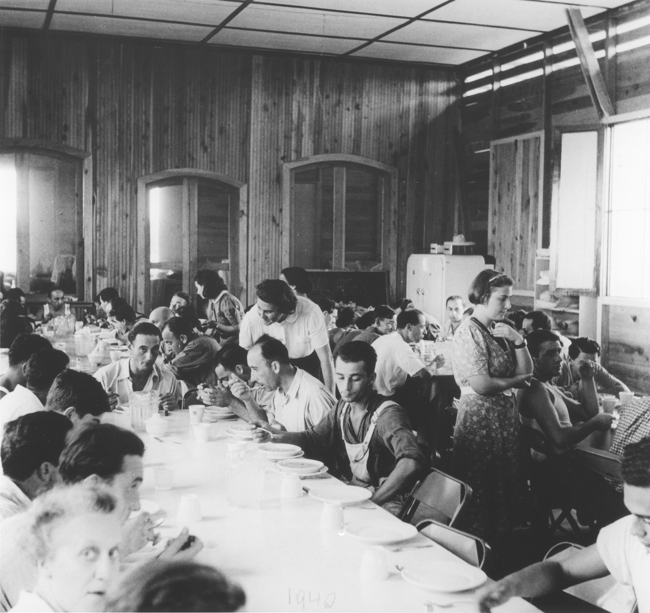 Jewish refugees eat in the communal dining hall at the agricultural settlement in Sosua.