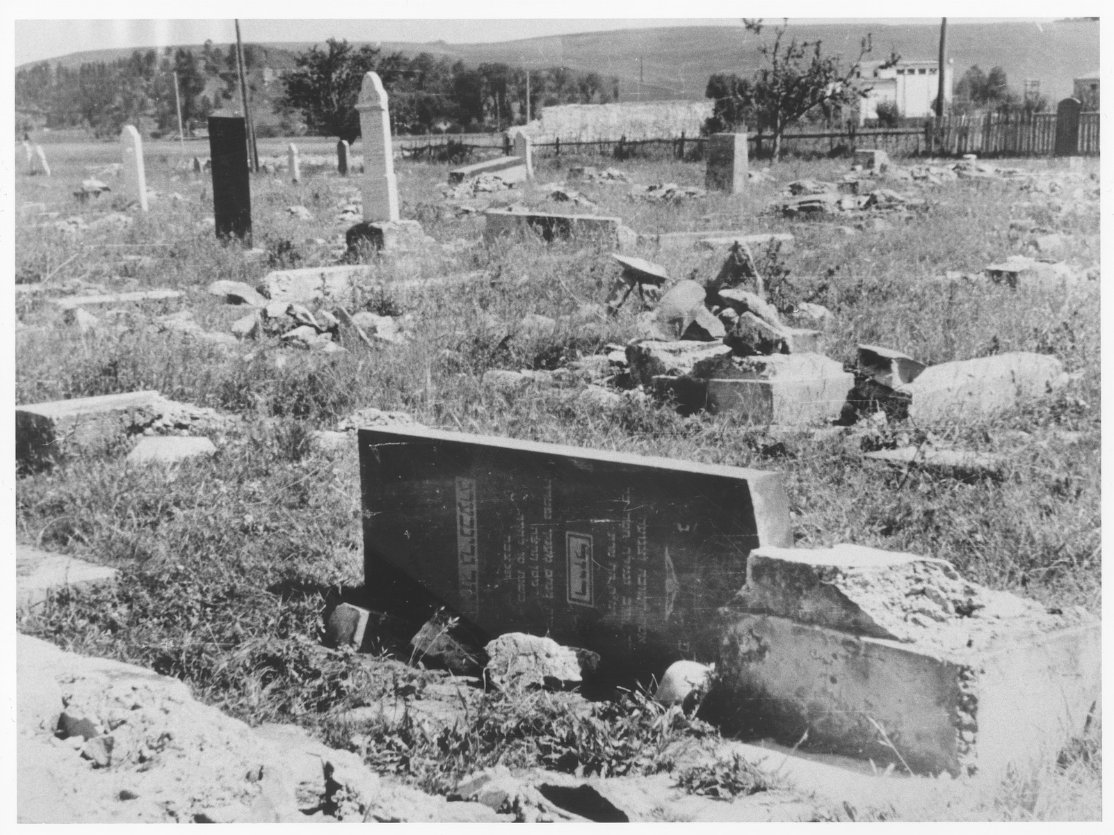 View of a desecrated cemetery [probably in the Kovno ghetto].