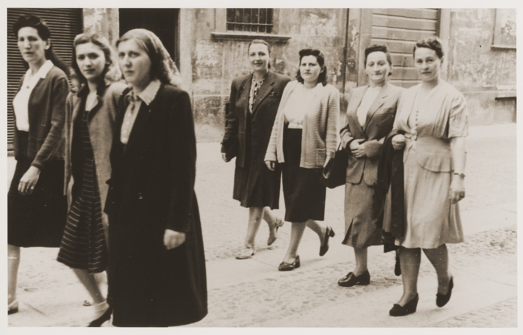 Jewish DP women in the Cremona displaced persons camp take part in a march advocating the creation of a Jewish state.    Among those pictured are Zelda Leikach (far right) and Chaika Katz (next to her, to her left).