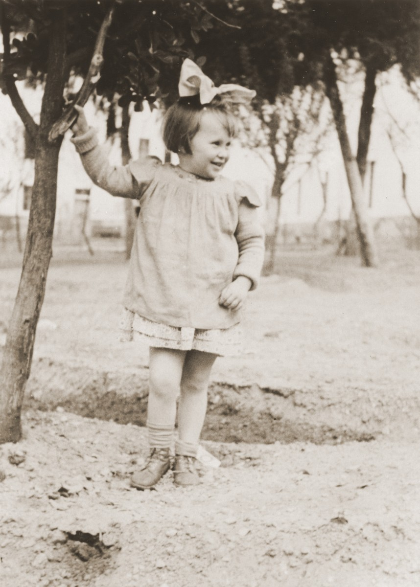 Portrait of a Jewish DP child who had been living in hiding with a non-Jewish family in the Ukraine during World War II.  Pictured is Masha  Leikach.