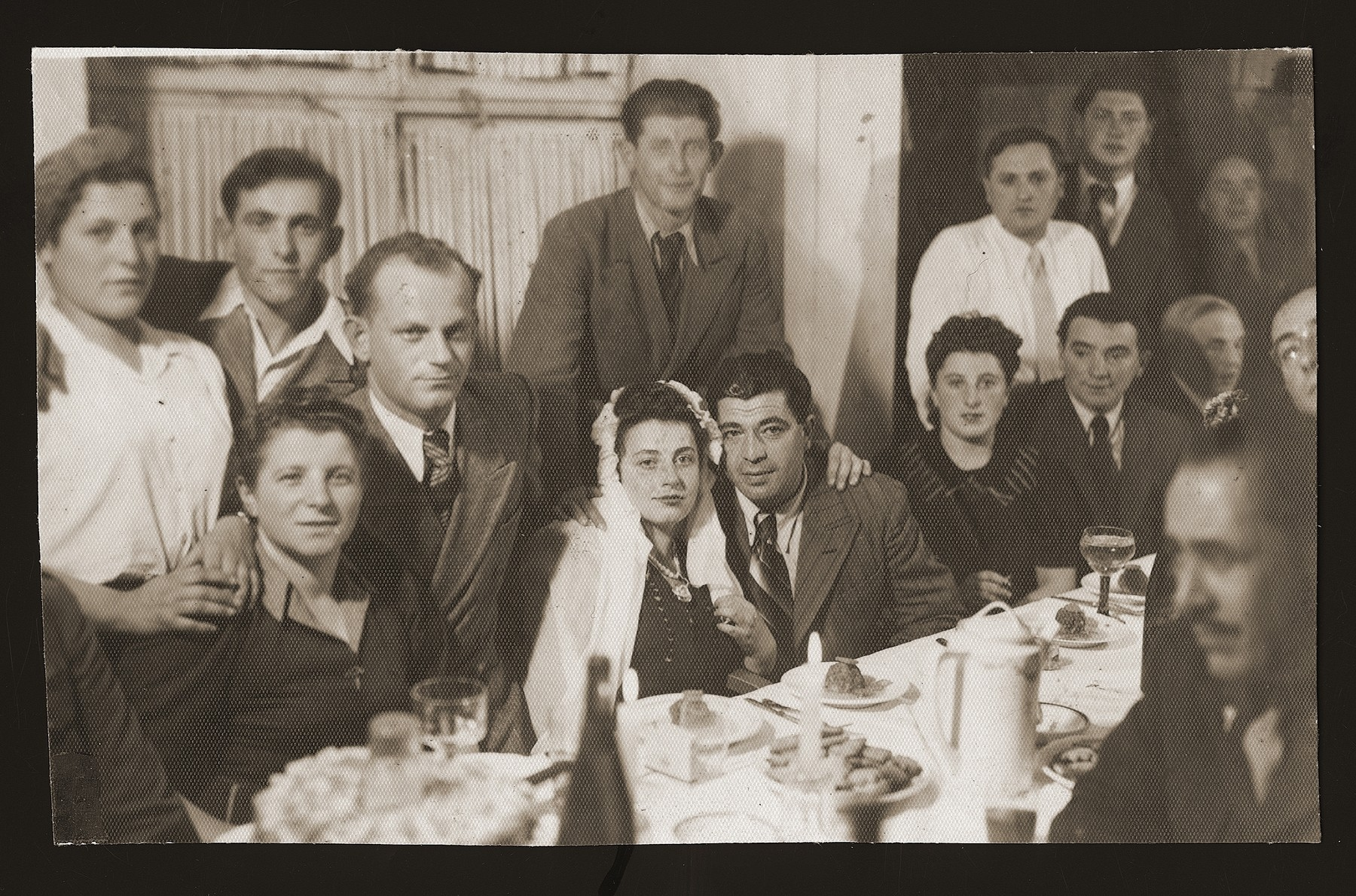 DPs celebrate the marriage of Chaim and Sonia Nishnillevich, the first wedding to take place in the Heidenheim displaced persons camp.