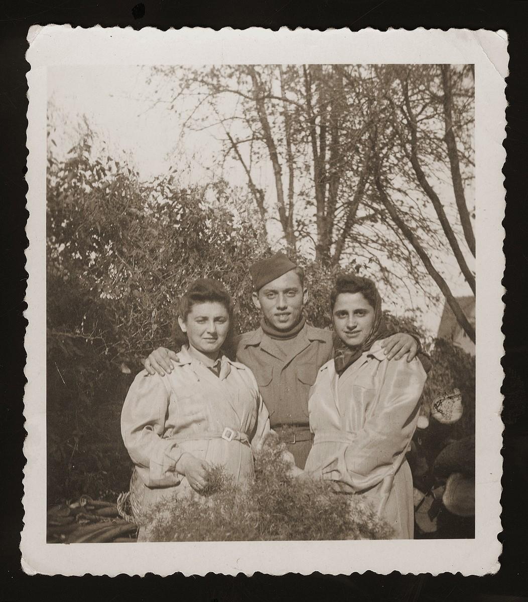 Three friends of the donor from Dabrowa pose in Zeilsheim DP camp.  From left: Hanka Wajntraub; Karol Chrzanowski and Edzia Obornik.