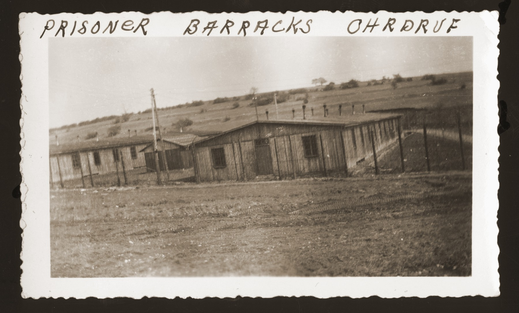 View of prisoner barracks in the newly liberated Ohrdruf concentration camp.
