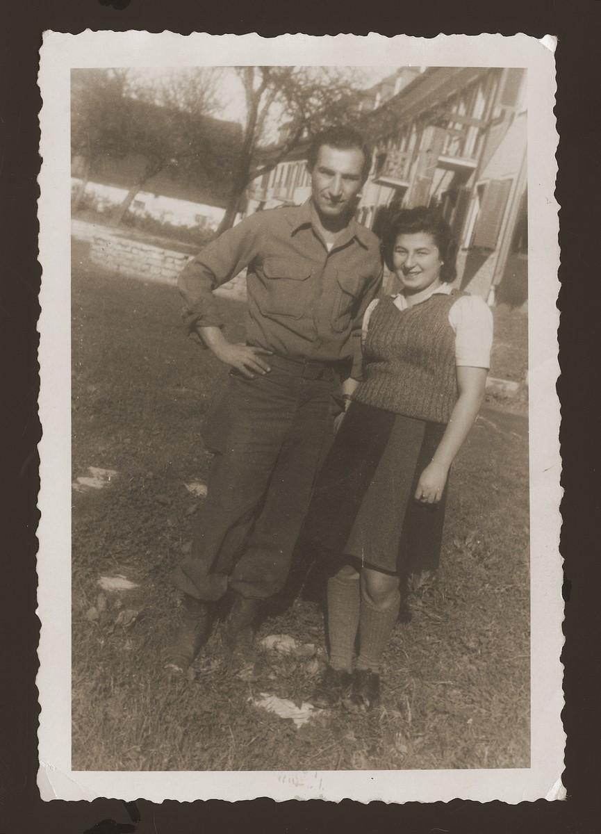 Portrait of Halinka Goldberg (right) and a friend in the Schwandorf DP camp.