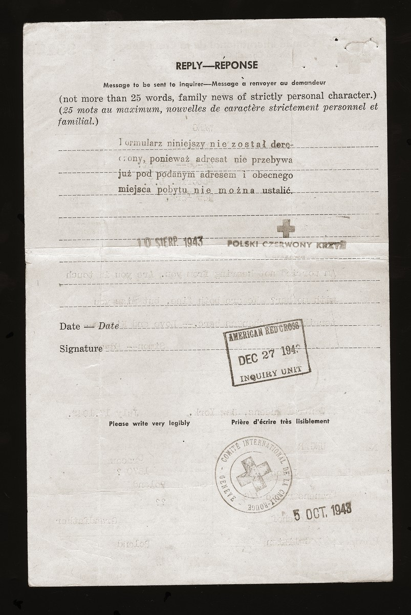 Response from the Red Cross to Szymon and Edwarda Wang notifying them that their final letter to their grandfather could not be delivered since he had moved and left no forwarding address.