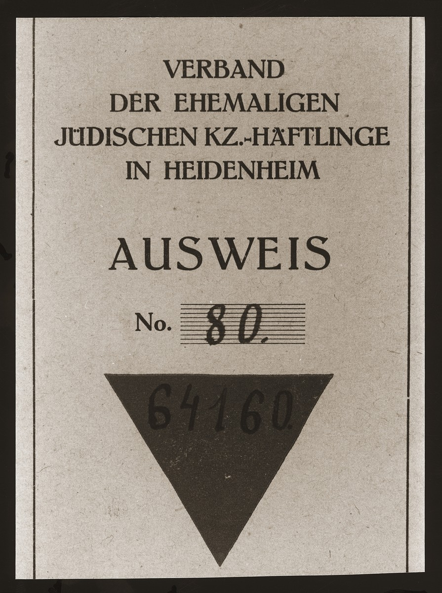 "Cover of an identification card issued to Sima Wajner, a former Jewish concentration camp prisoner now resident at the Heidenheim displaced persons camp.  The German text reads: ""Association of former Jewish concentration camp prisoners in Heidenheim/Identification card."""