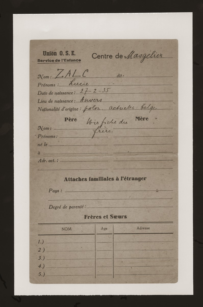 An undated registration form for Lucie Zalc at the OSE children's home in Masgelier.
