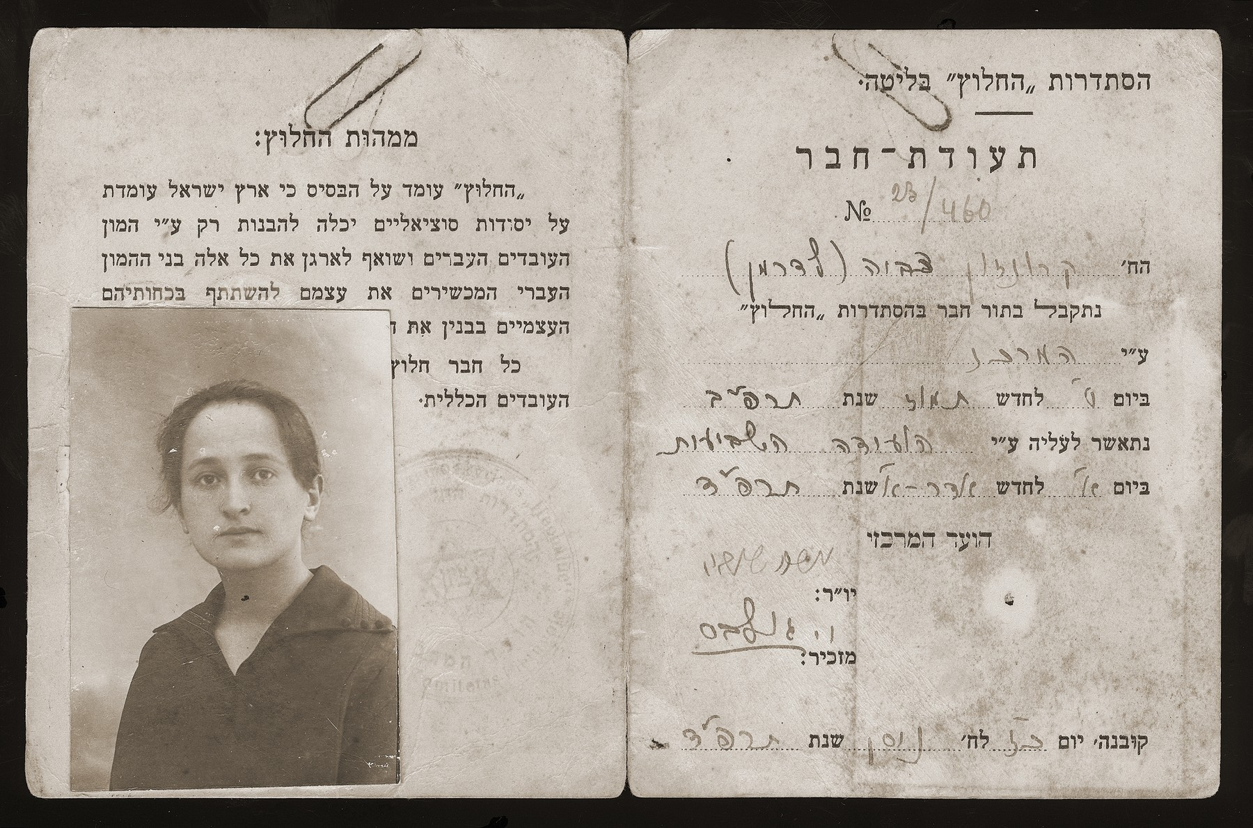 """Hehalutz"" membership card issued to Zvia Kronsohn (Lederman) in Kovno.   HeHalutz was an association of Jewish youth movements founded at the turn of the century to train its members in manual labor, usually agriculture,  in preparation for immigration to Palestine.    In Lithuania, HeHalutz was established after World War I, and membership ranged betwen 1,000 and 1,500 youth. Kibbutzim were established in several towns including Kovno, Shavli, Poniviez and Memel.  Originally these cooperative societies trained workers in carpentry, tailoring and other crafts.  Later, the focus shifted to primarily agricultural work."